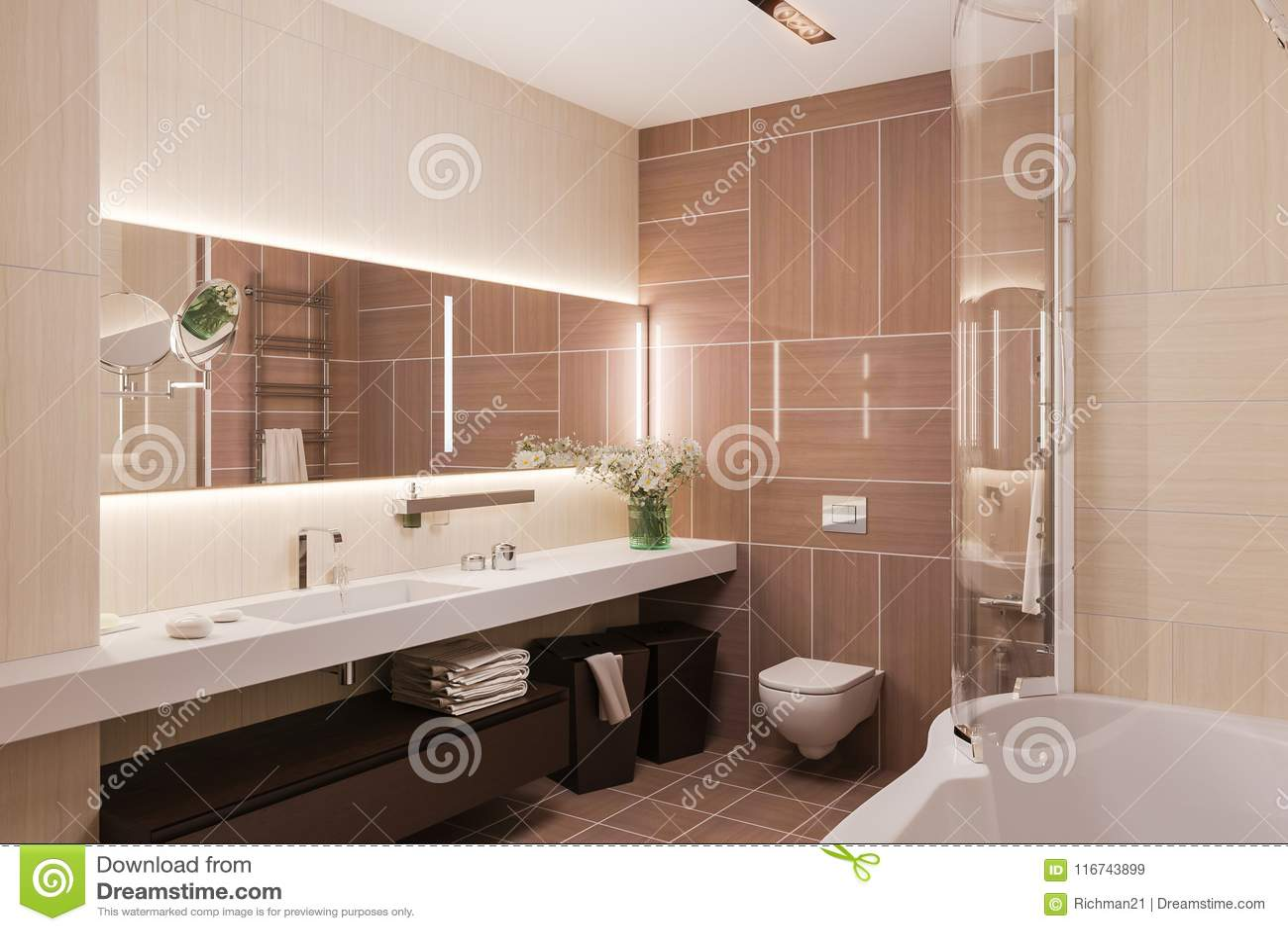 3d Rinden Diseño Interior De Un Cuarto De Baño Moderno Con Un Mirr ...