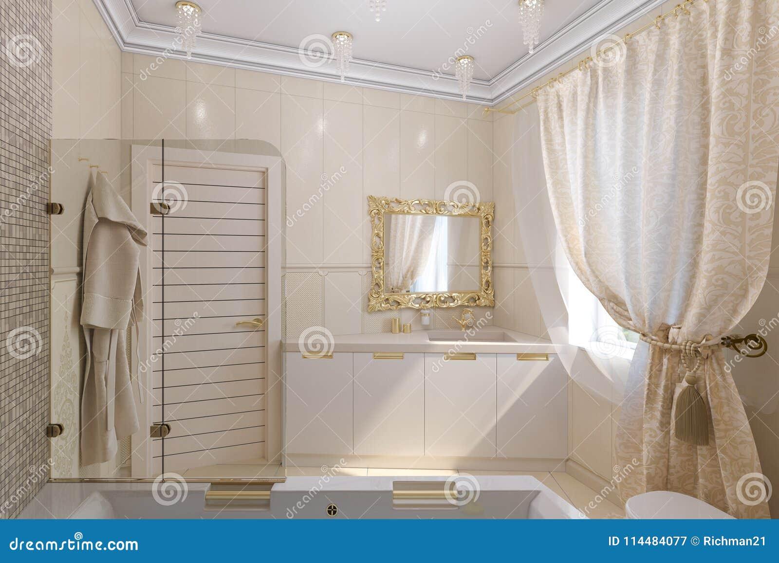 3d Rinden Diseño Interior Del Cuarto De Baño De Lujo En Un ...