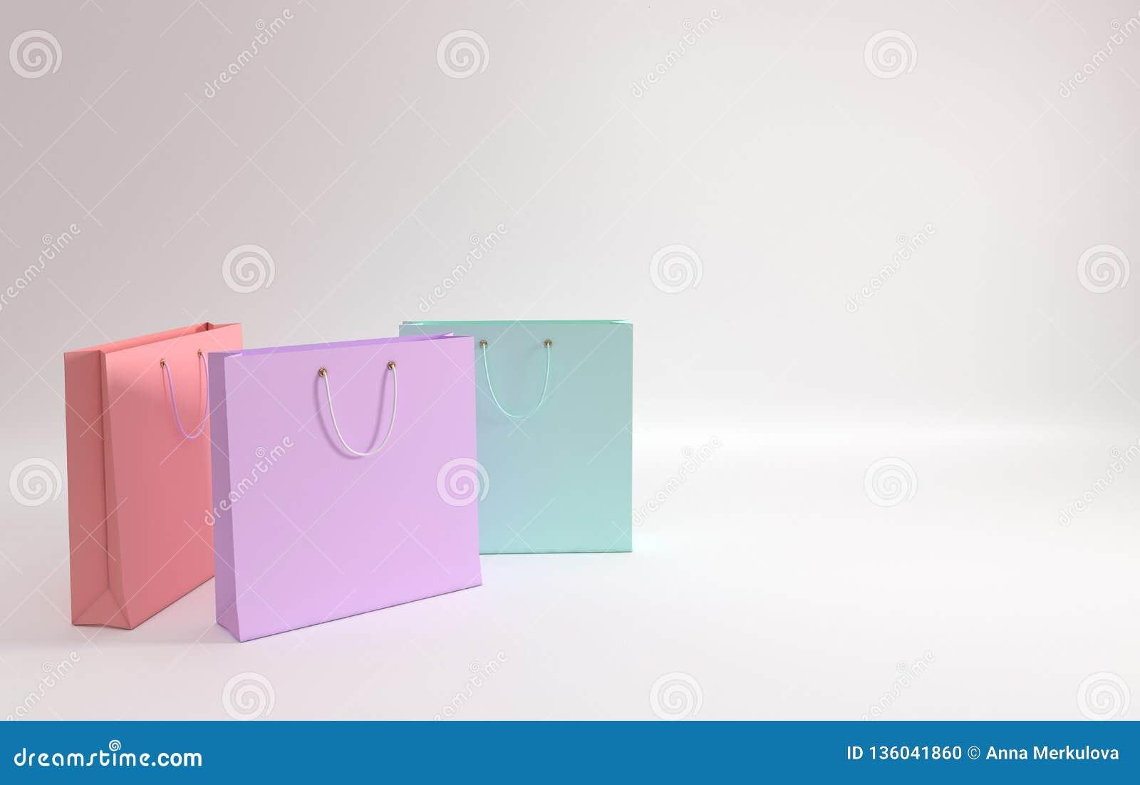 3d rinden la ilustración Sistema de bolsos que hacen compras de papel coloreados en colores pastel en el fondo blanco Concepto de