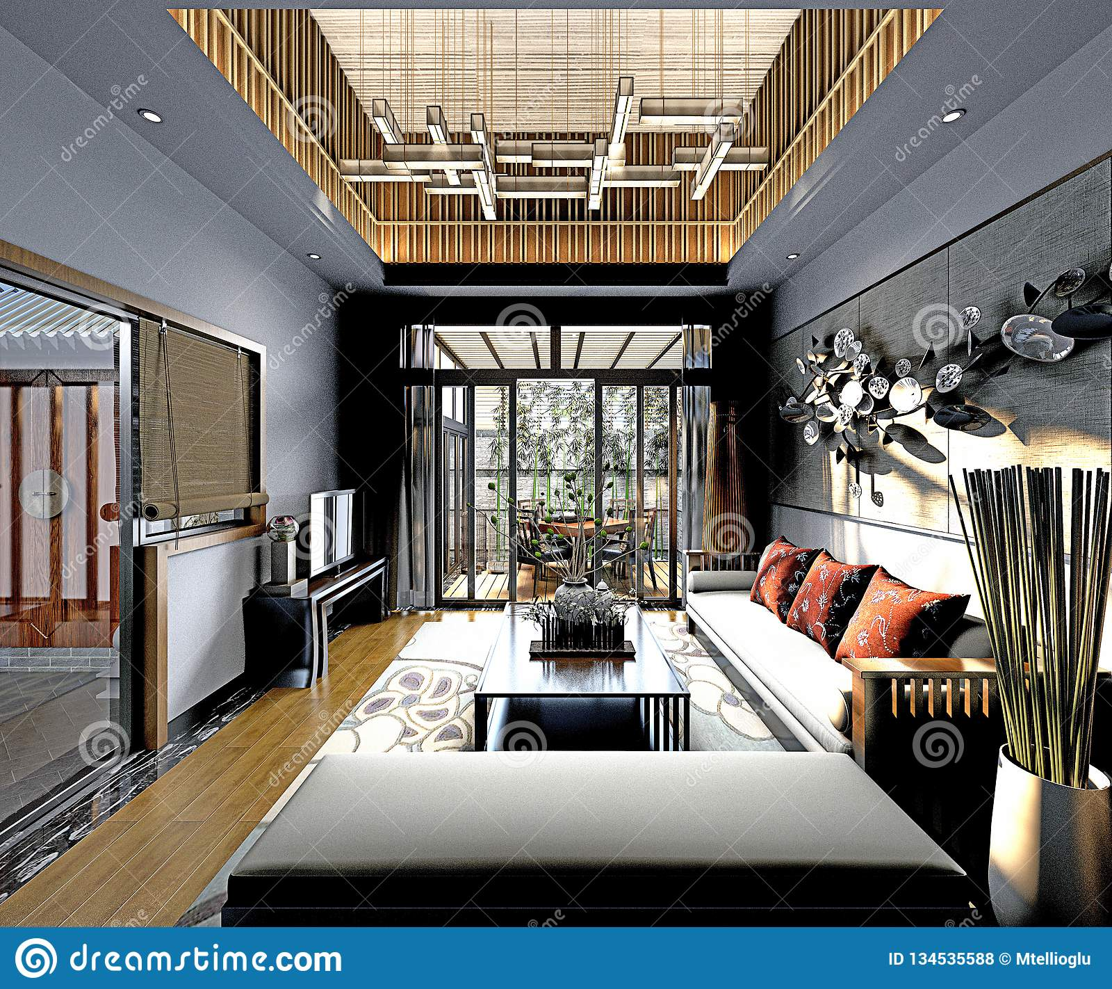 3d rinden la sala de estar postmoderna