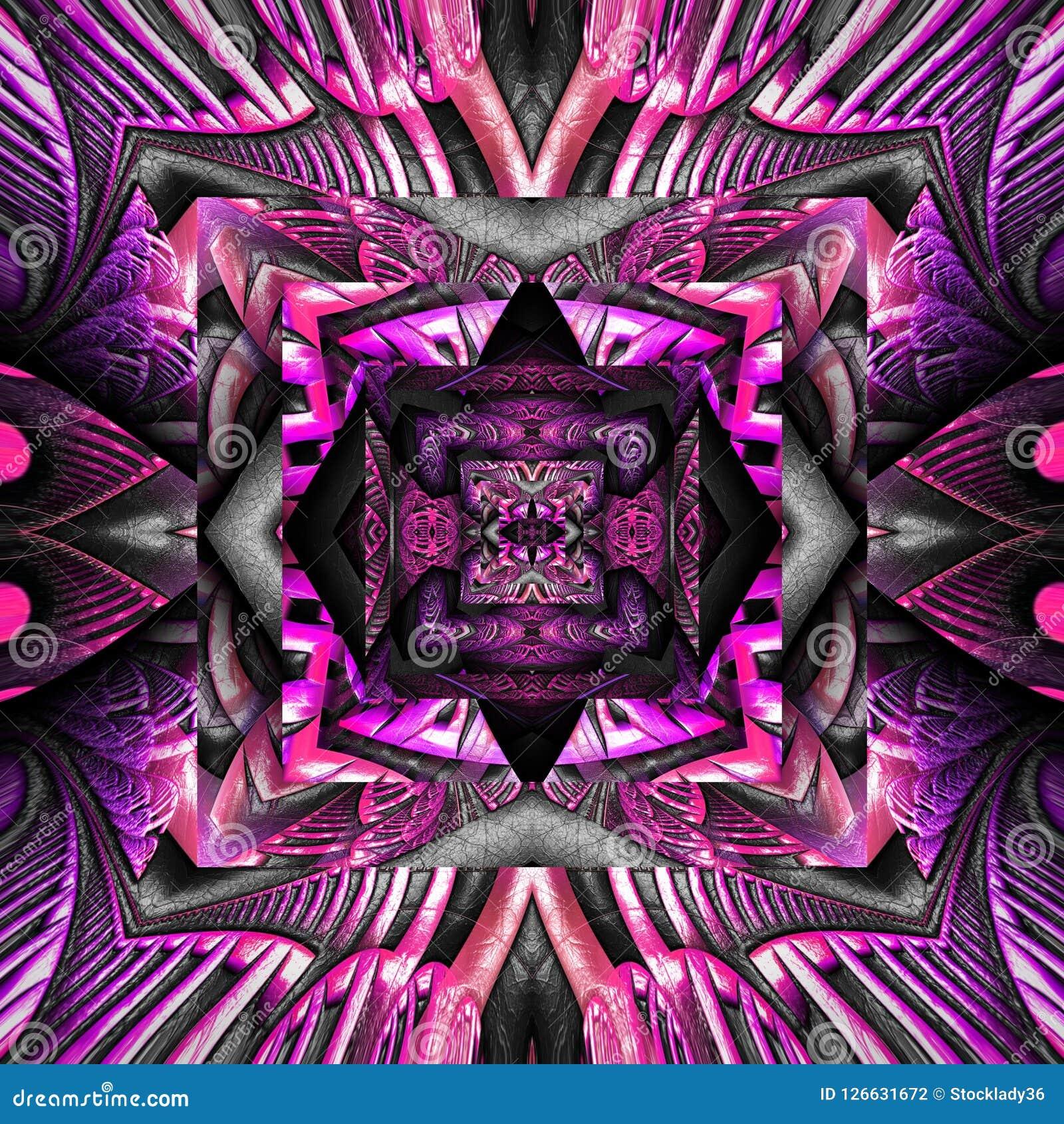 3D rinden la teja inconsútil del fondo colorido plástico del fractal Stock de ilustración