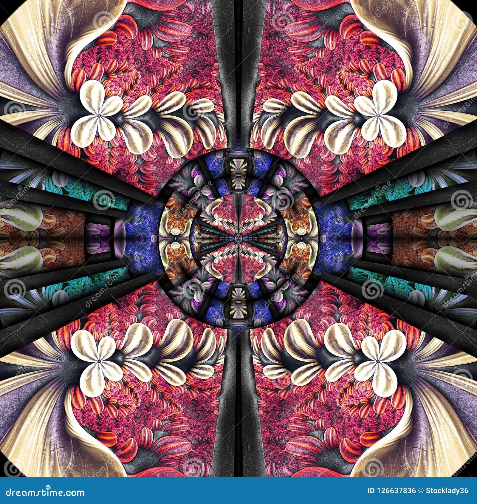 3D rinden la teja inconsútil del fondo colorido plástico del fractal Libre Illustration