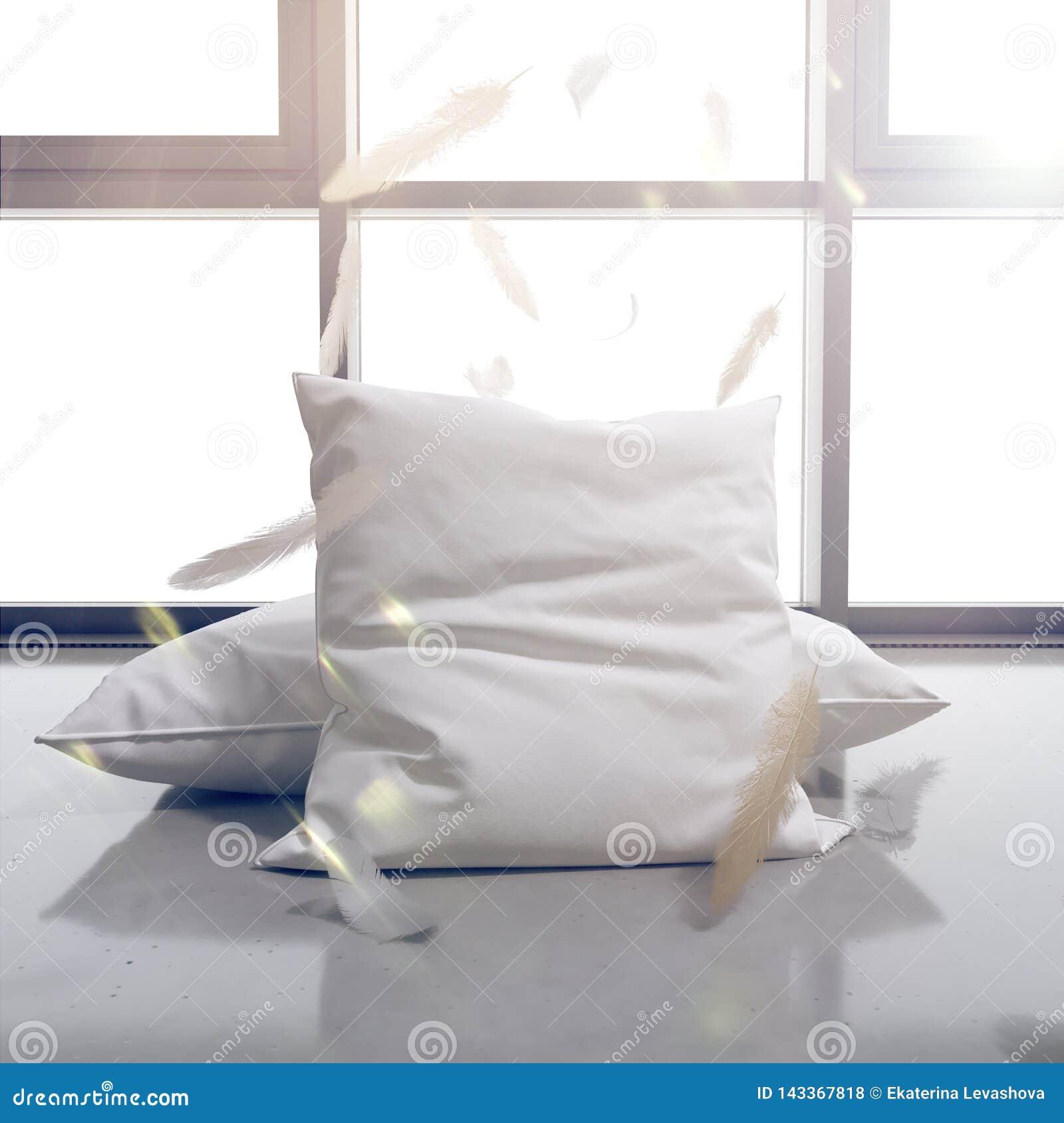 3d rinden las almohadas y las plumas en el fondo de la ventana El sol brilla brillantemente