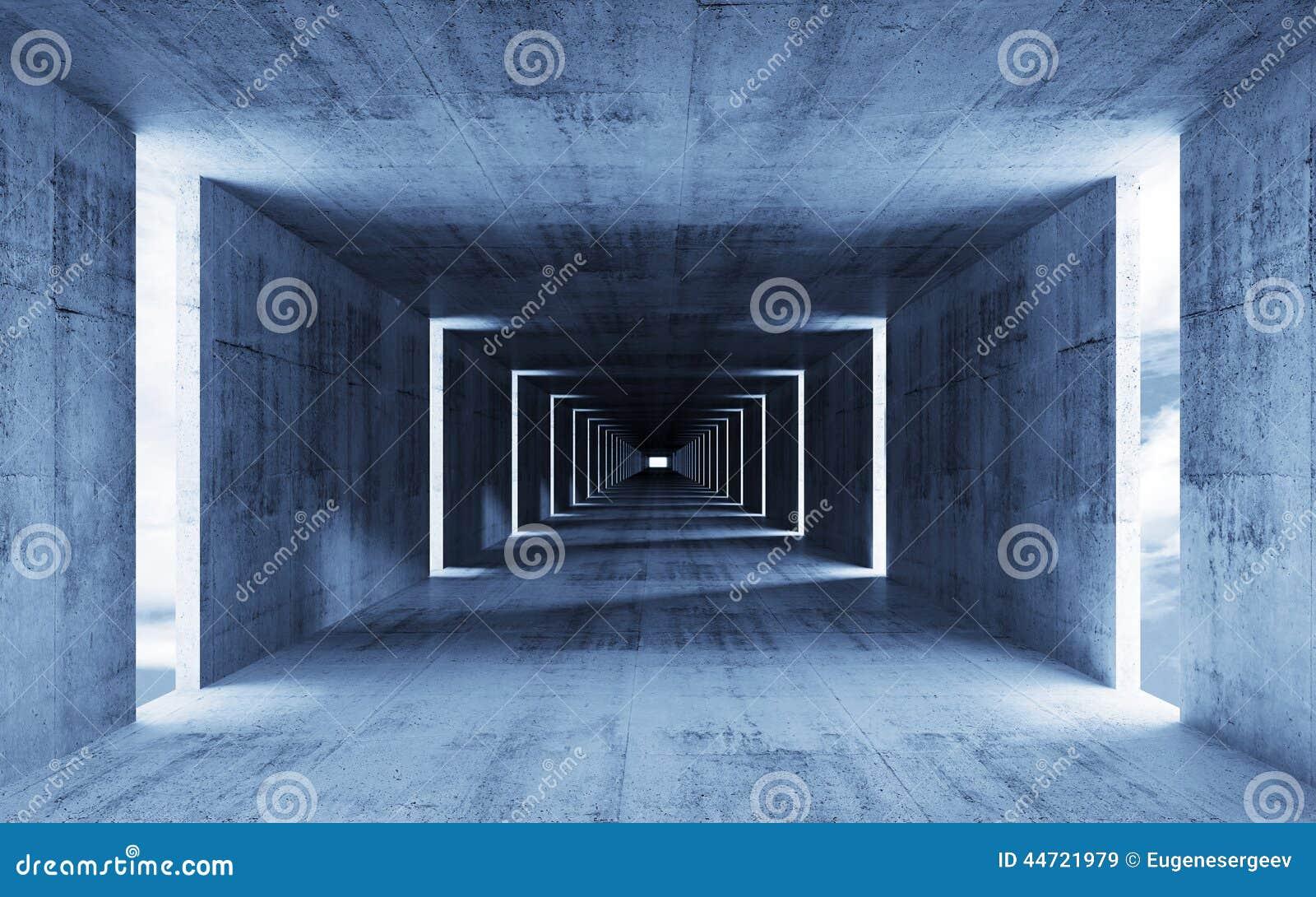 3d rinden, resumen el interior concreto azul vacío