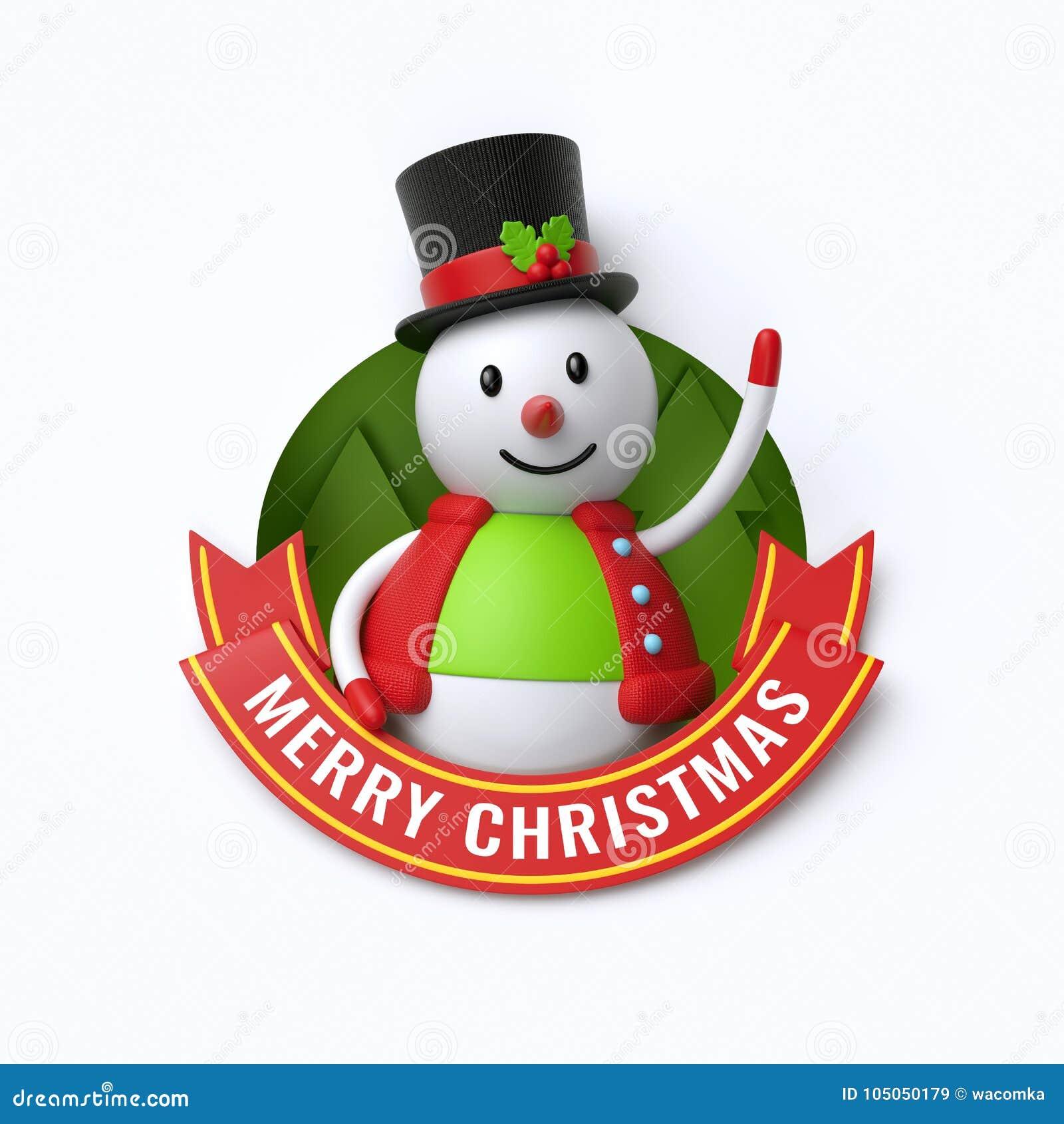 3d Rinden Texto De La Feliz Navidad Muñeco De Nieve Lindo