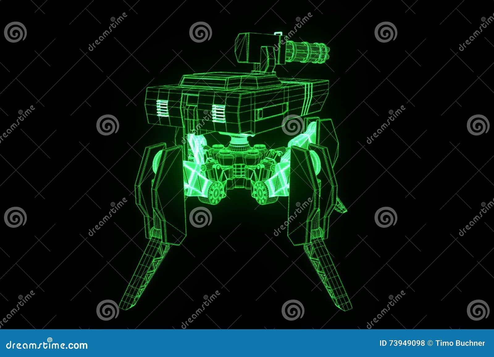 3D Robot Tank Hologram Wireframe In Motion  Nice 3D