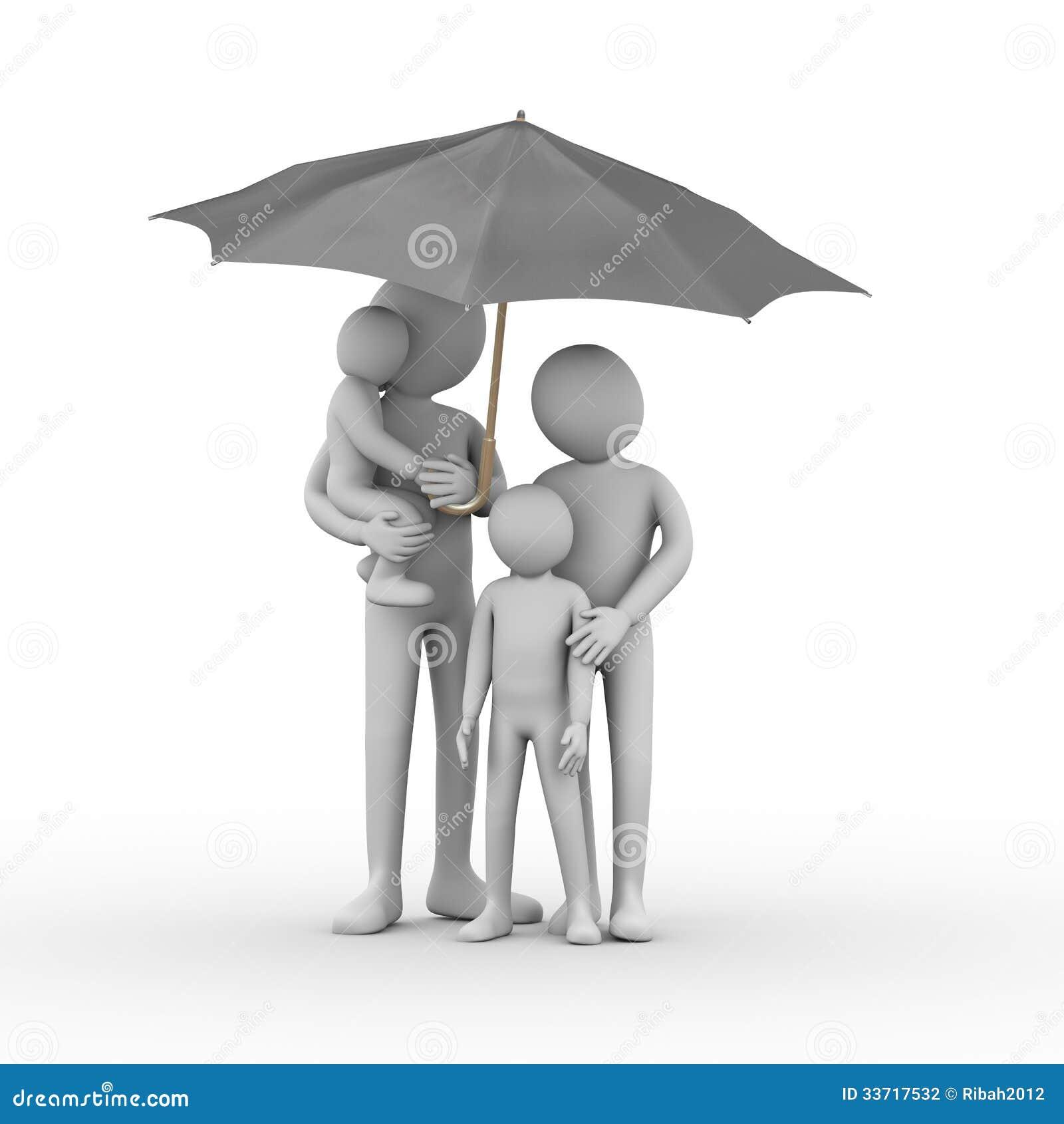 3d rodzina pod czarnym parasolem