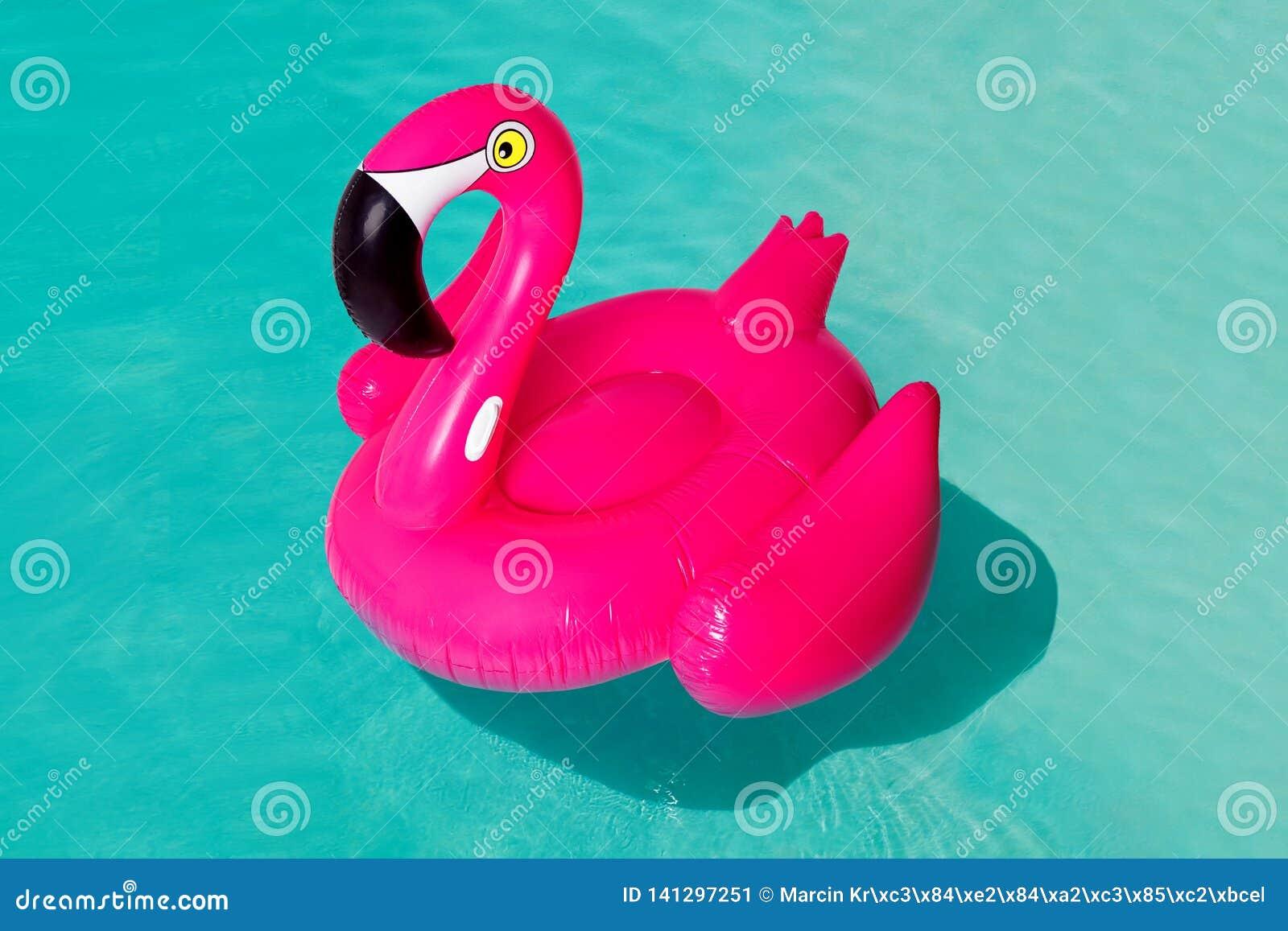 3d rosa flamingo, cirkel för simbassäng för tropisk fågelform uppblåsbar, rör, flöte Sommarsemestern semestrar gummiobjekt som re