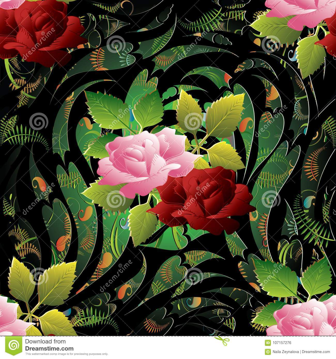 3d Roses Seamless Pattern Vector Floral Background Wallpaper Il