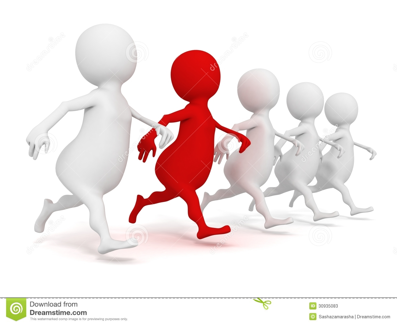 3d Running Human Group With One Red Individual Leader ...