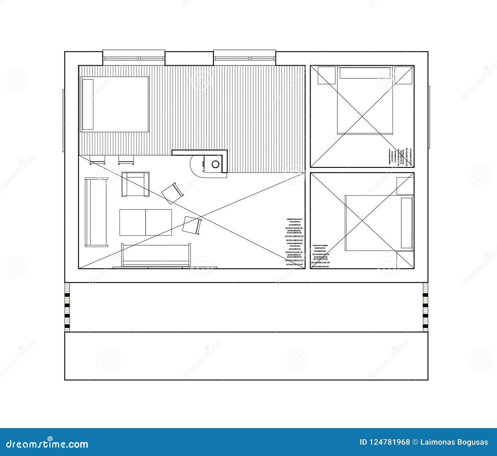 2D rysunek - odosobniony podłogowy plan pojedynczy rodzina dom