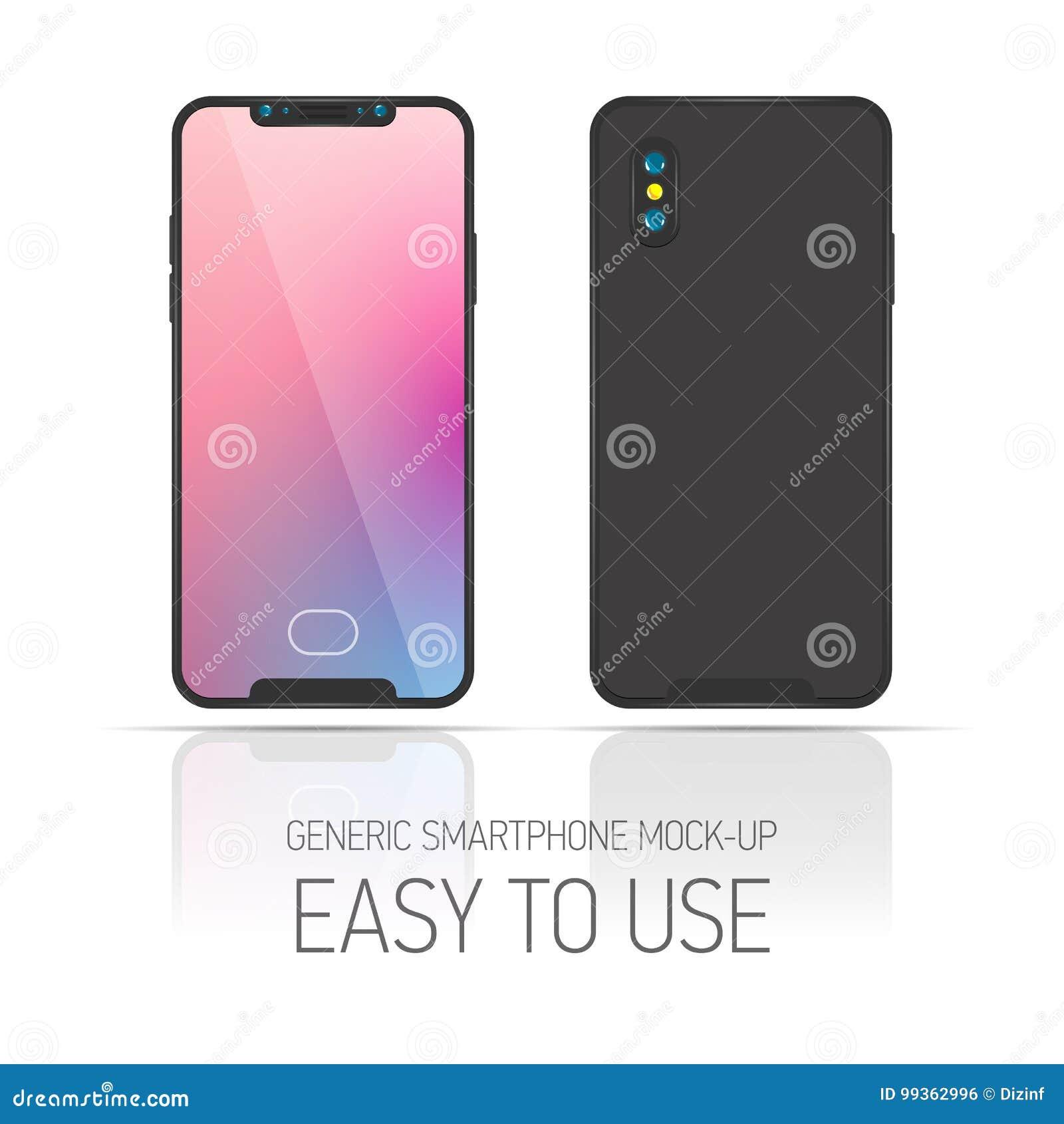 3d sänker illustrationen Smartphone sikt för sommar för lake för bakgrundskoframsida Generisk telefon för modell
