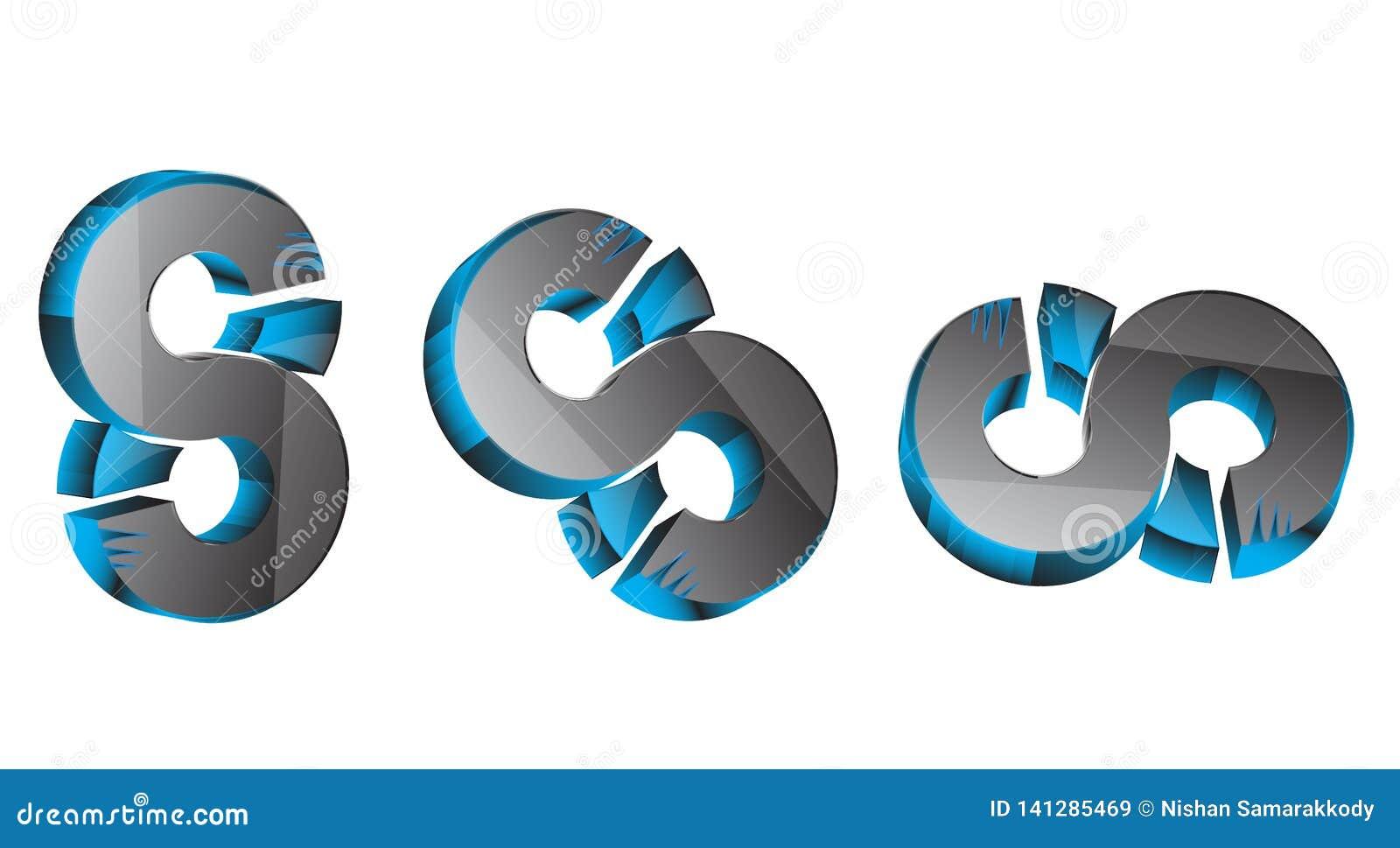 3d 3d 8 3D S Nummer 8 blå & grå färg 8 för 3D svart, blått & grått sss bästa 3D