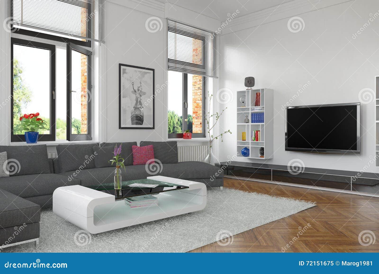 3d salone concetto interno illustrazione di stock for Aprire piani casa concetto