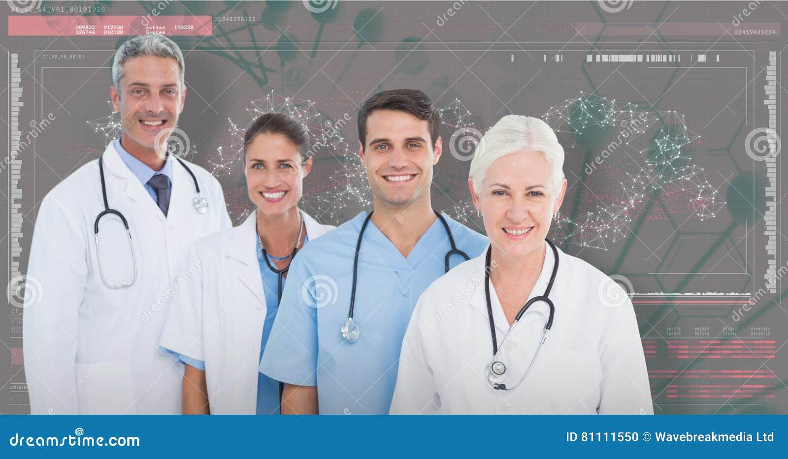3D Samengesteld beeld van portret van zeker medisch team