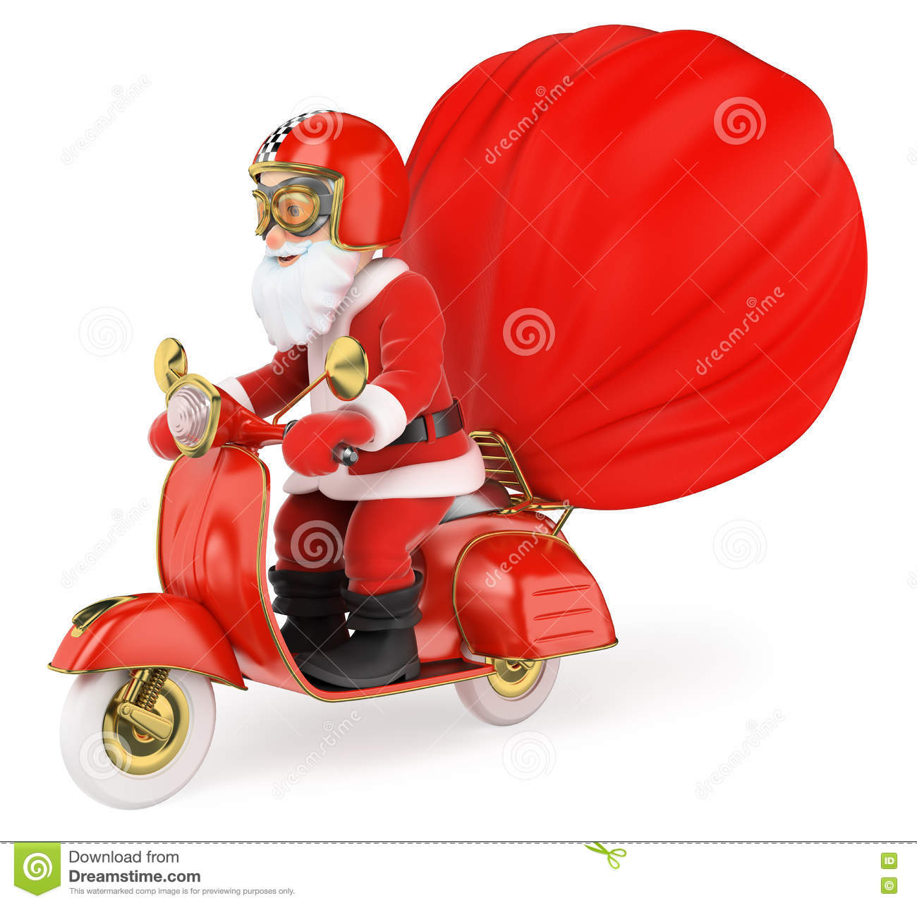 3D Santa Claus Delivering Gifts By Motorcycle Stock Illustration ...