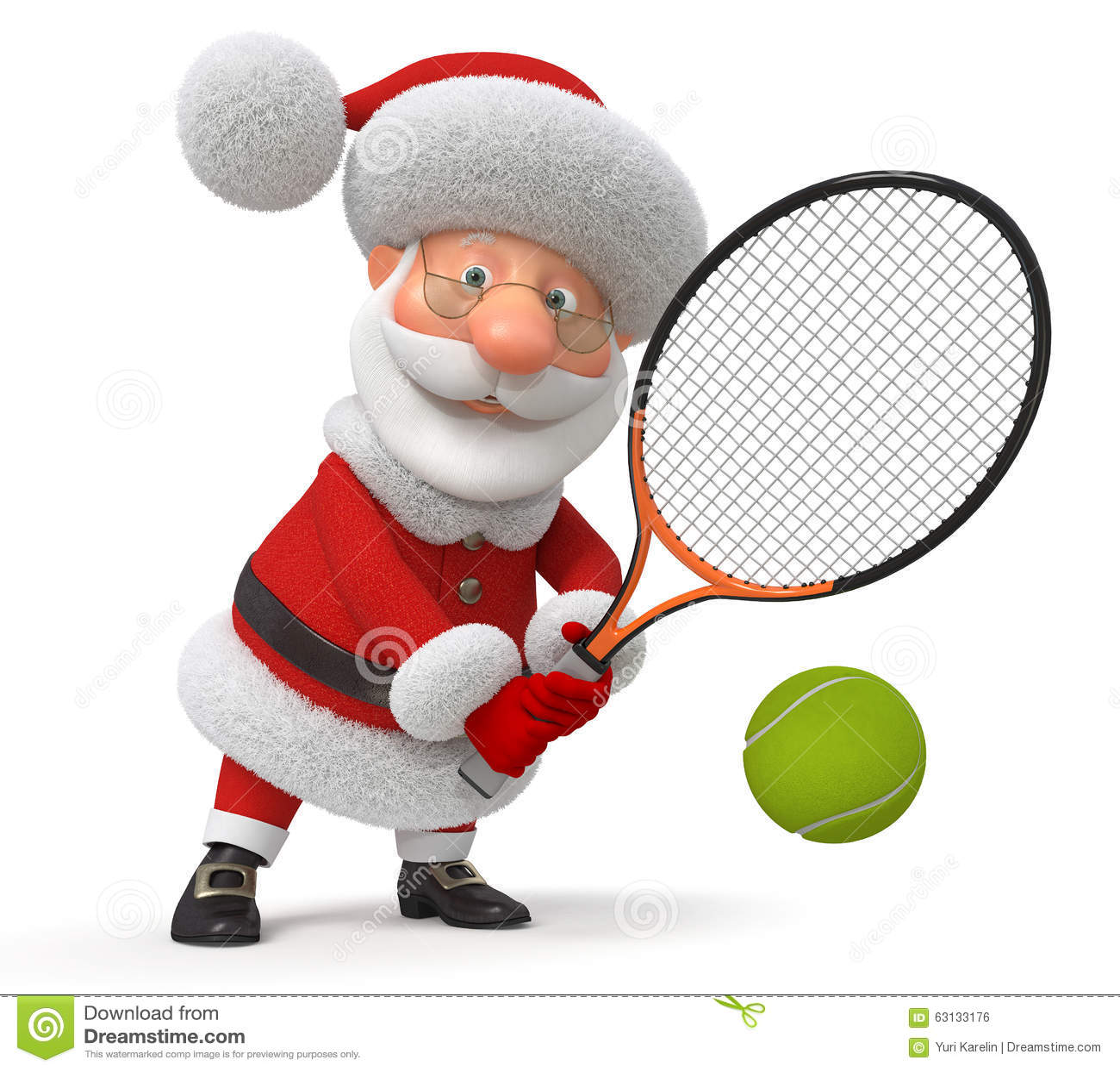 3d Santa Claus Plays Tennis Stock Illustration Image