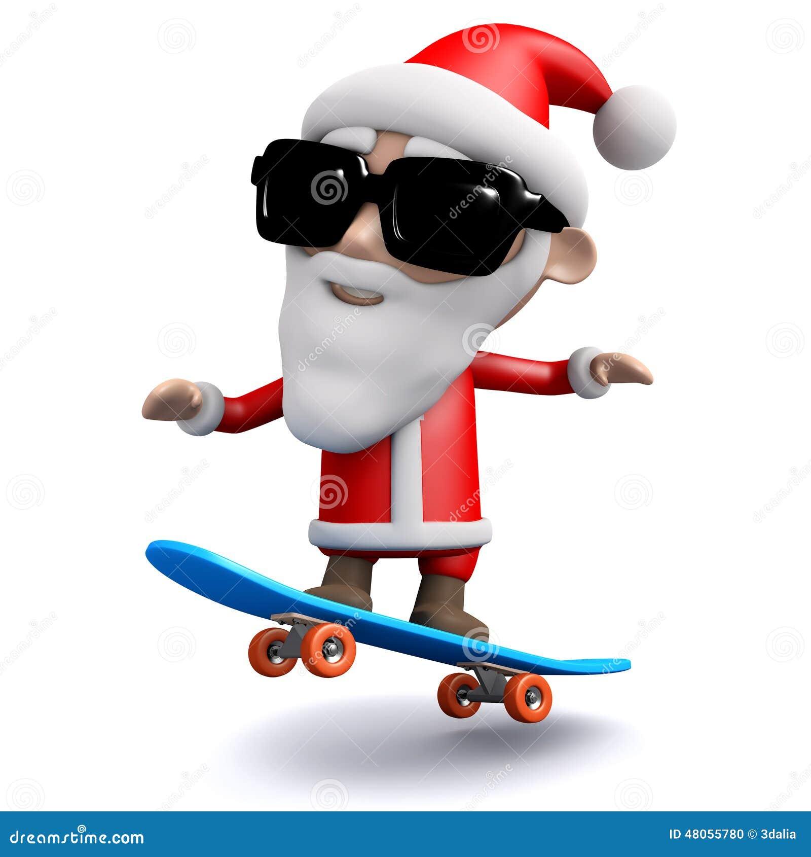 3d Santa Claus Skateboarding Stock Illustration Image Click Santa Claus Skateboard