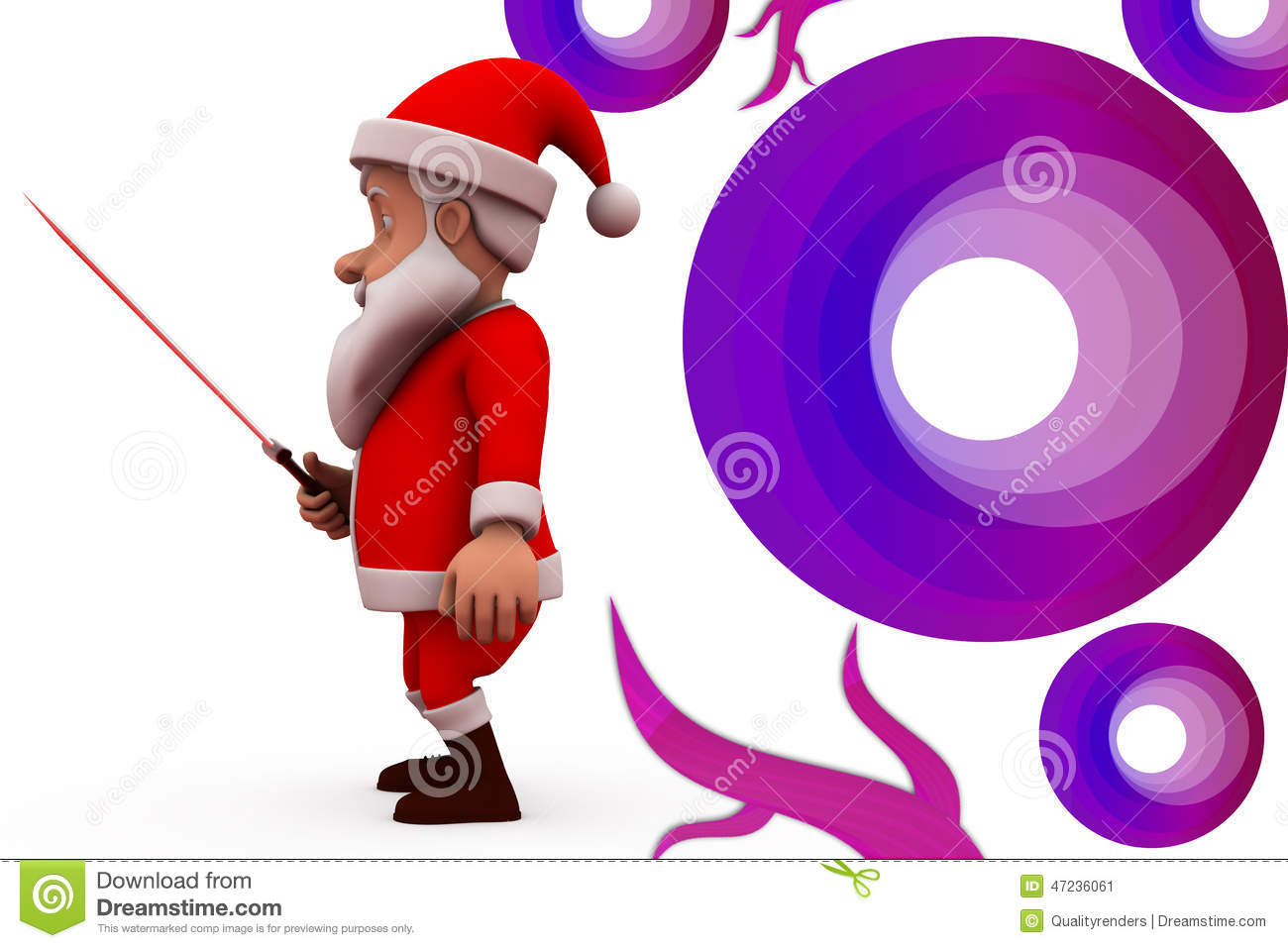 D santa claus with sword illustration stock