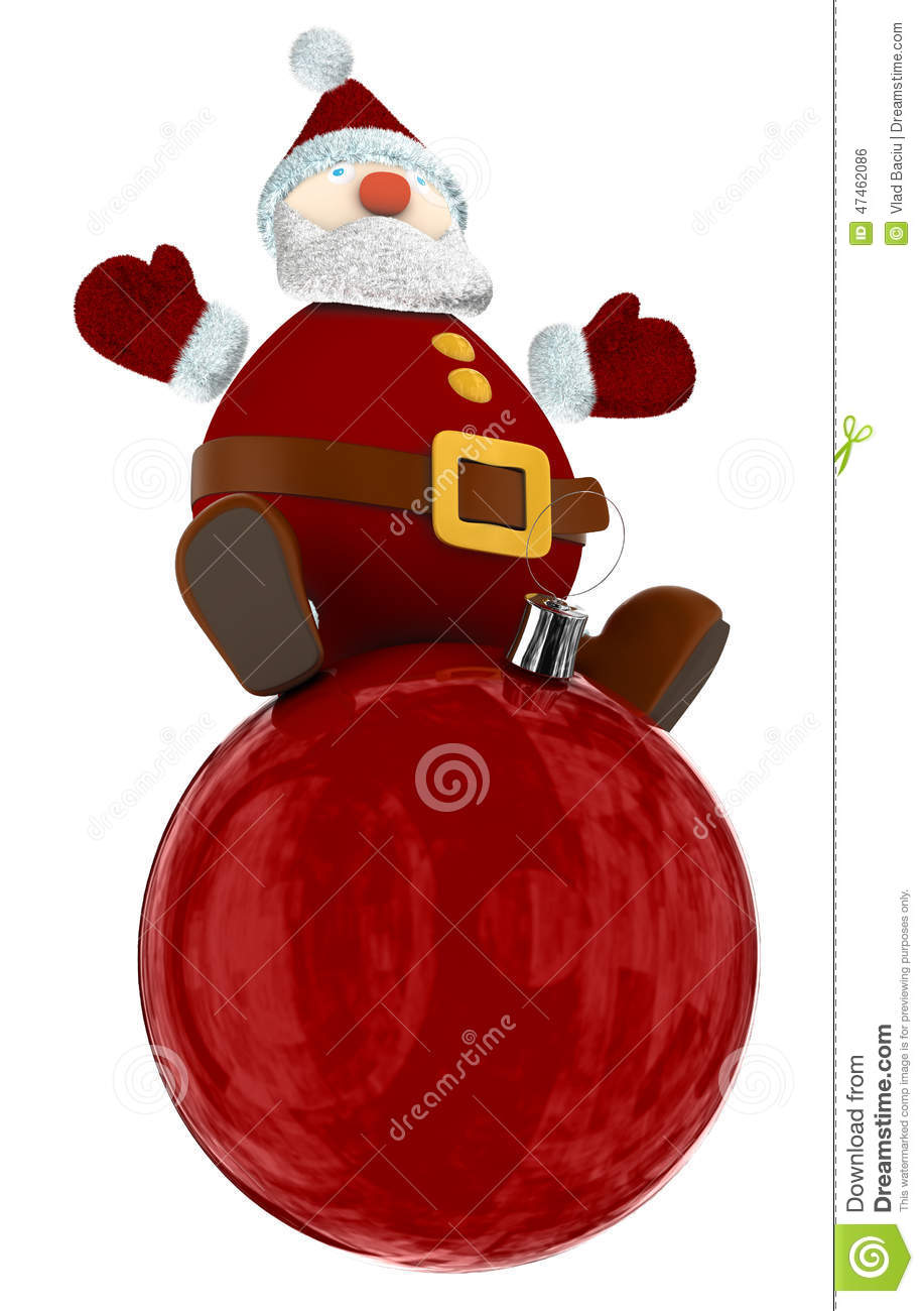 3D Santa Claus on top of a red globe