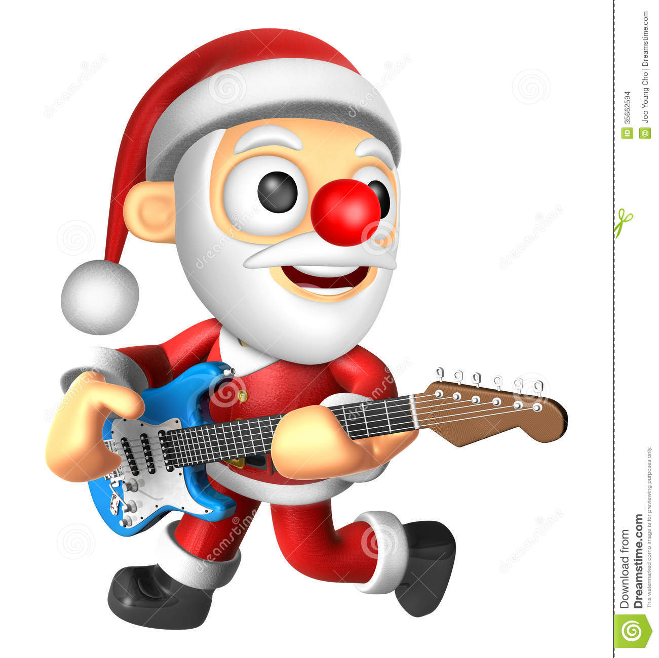 3d santa has to be playing the electric guitar 3d