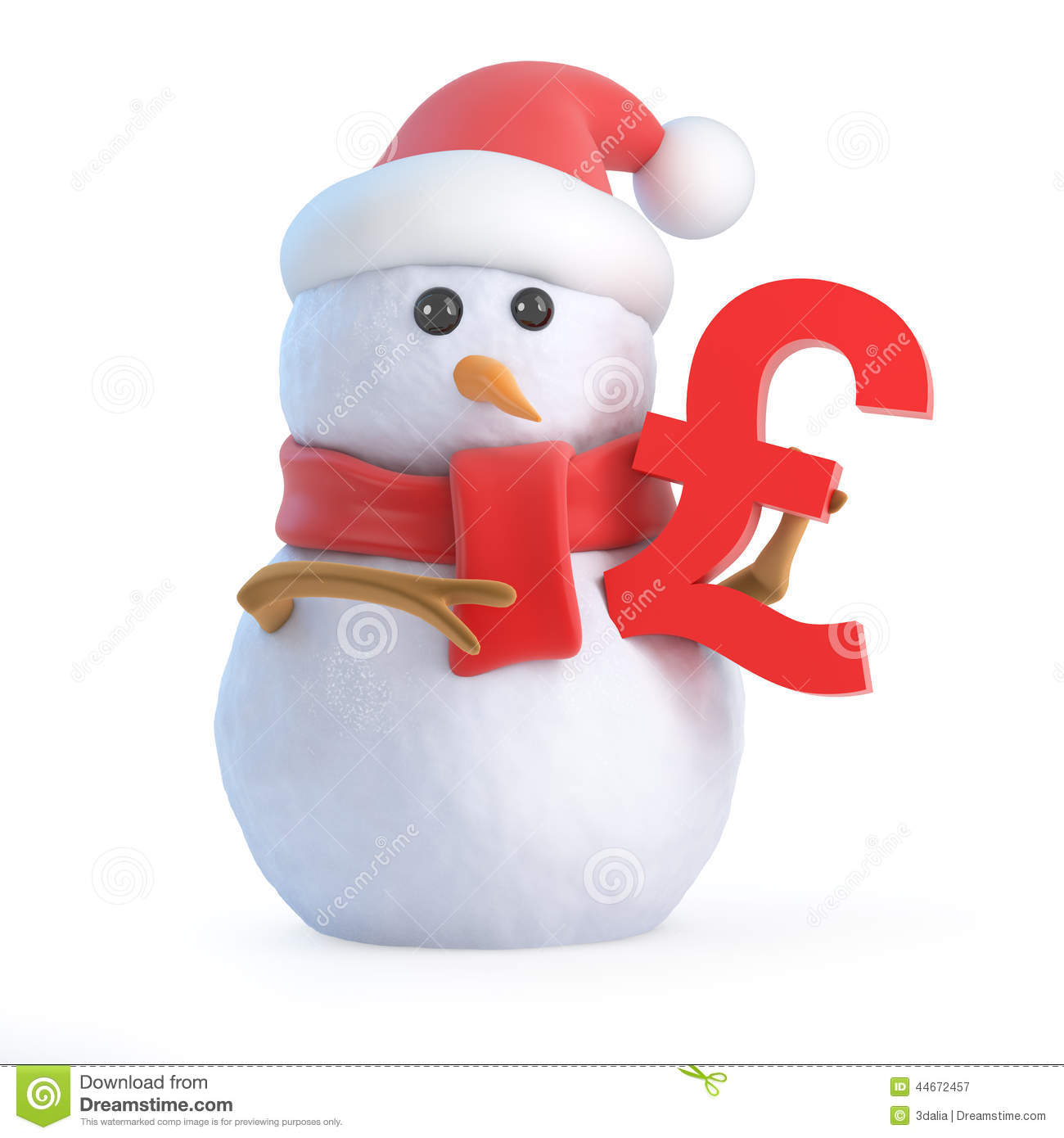 3d Santa Snowman Holding A Uk Pound Sterling Currency Symbol Stock