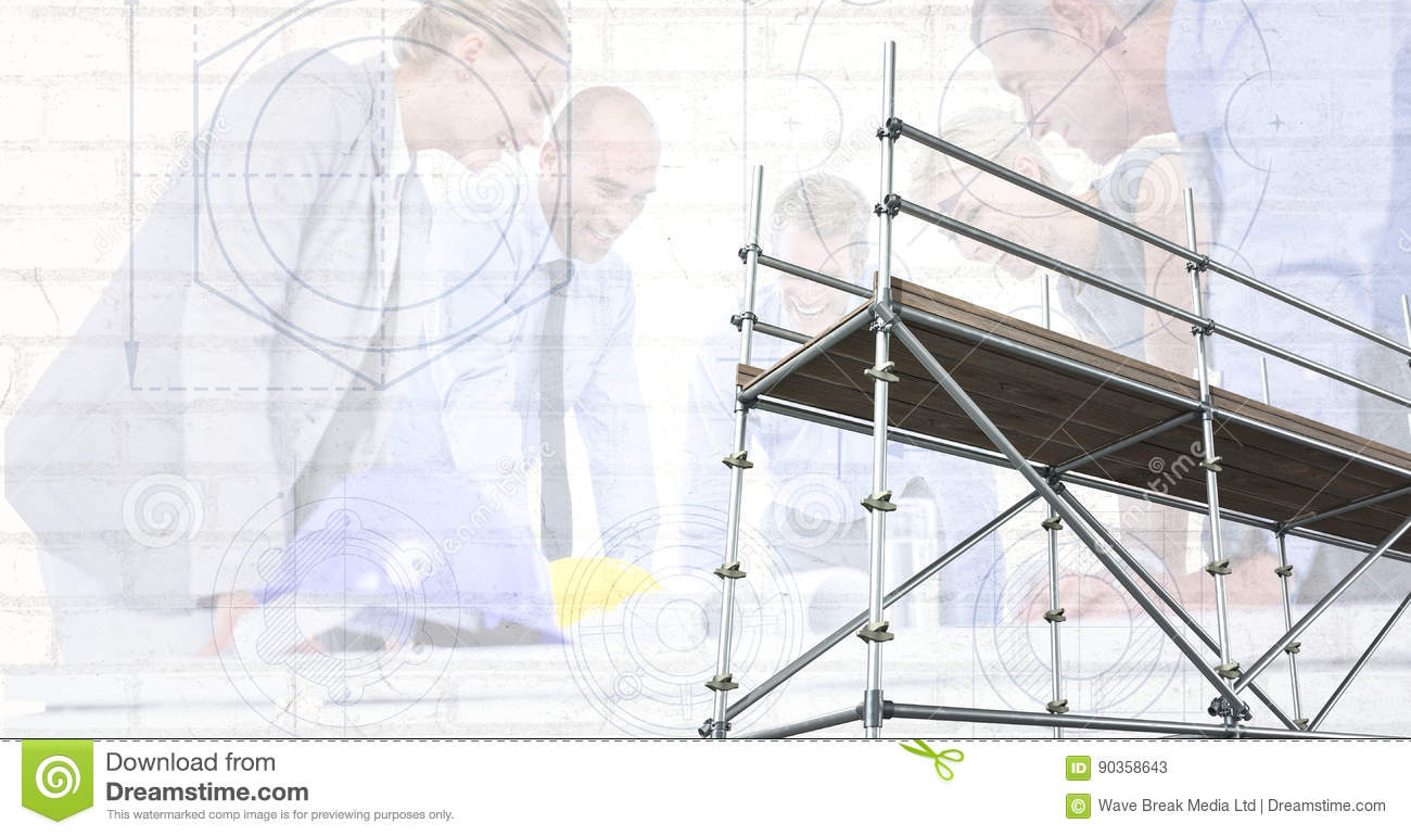 3d scaffolding with architects and blueprint background stock 3d scaffolding with architects and blueprint background malvernweather Images