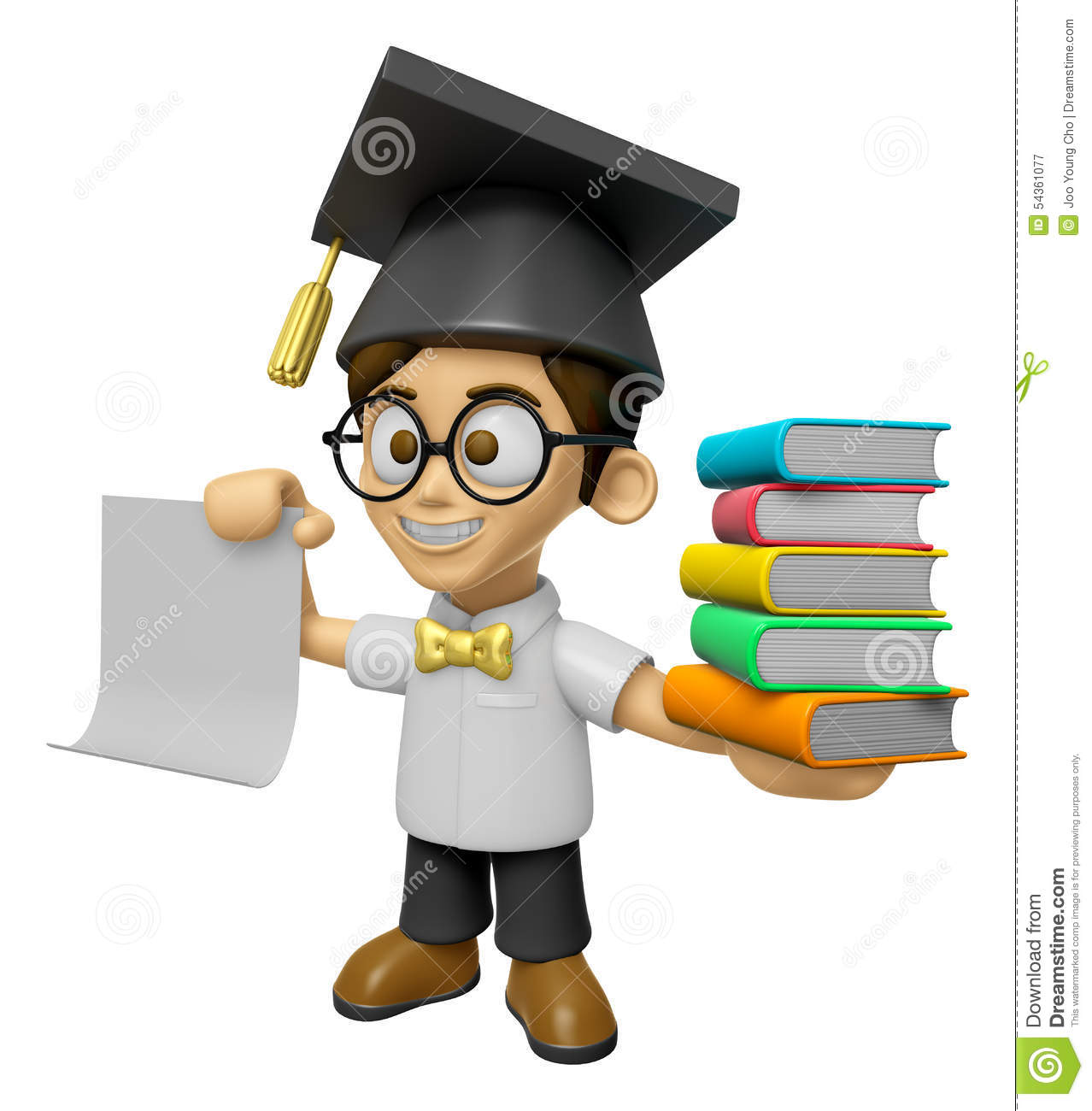 3d scholar man mascot is holding a pile of books work and for Character designer job
