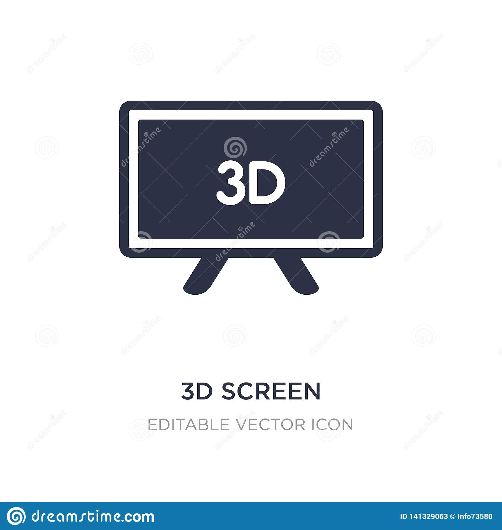 3d screen icon on white background. Simple element illustration from Computer concept
