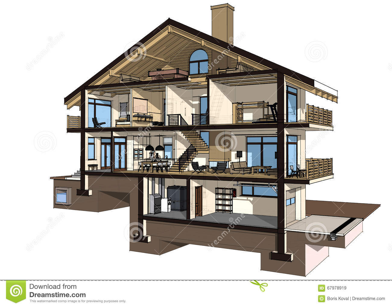 3d section of a country house stock illustration image for How to level a house