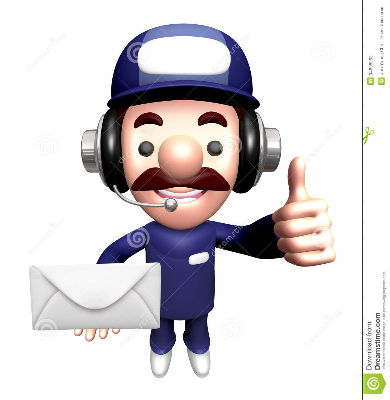 3d service man mascot holding a large letter stock photos for Character designer job