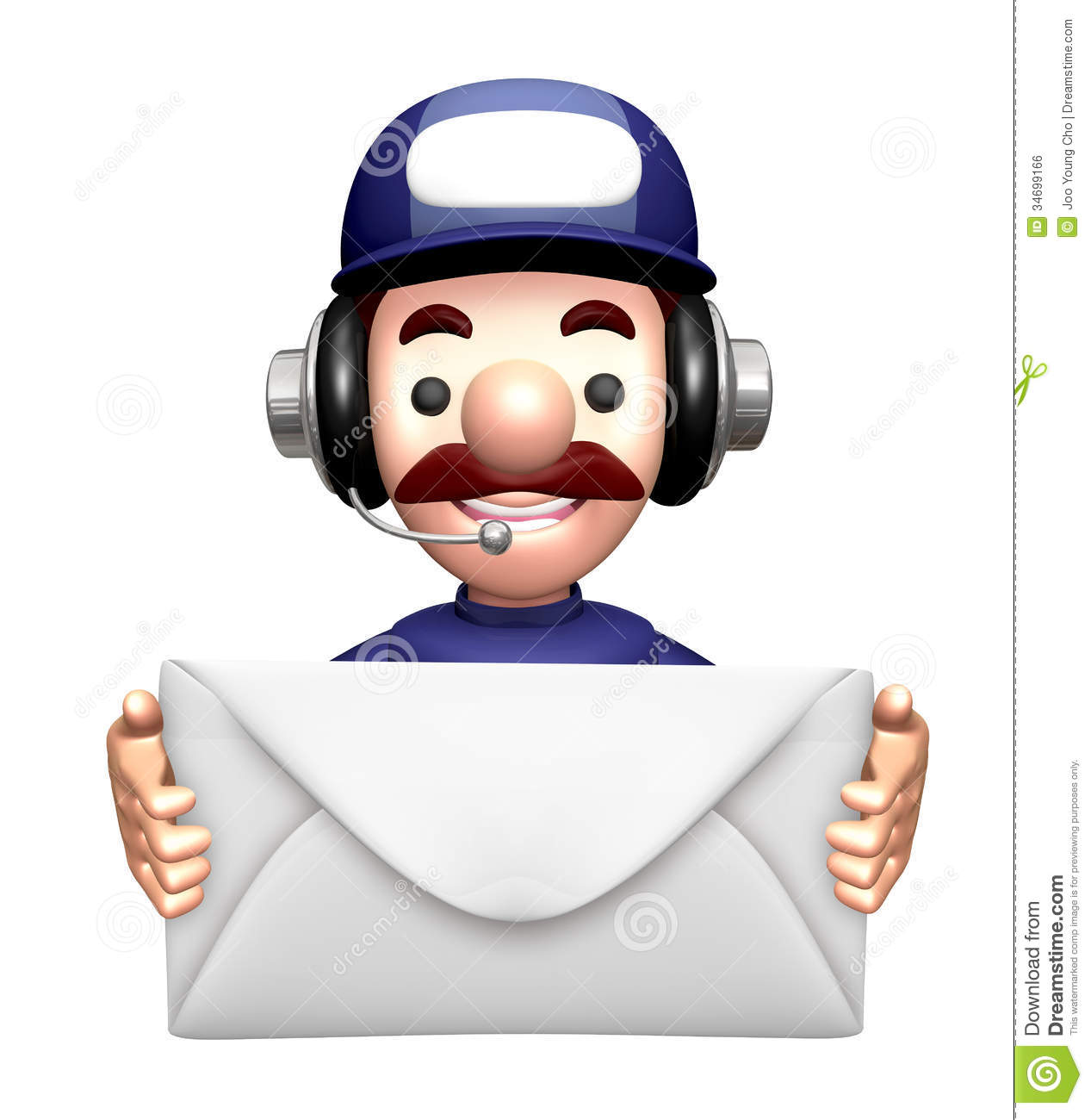 Character Design Letter : D service man mascot holding a large letter royalty free