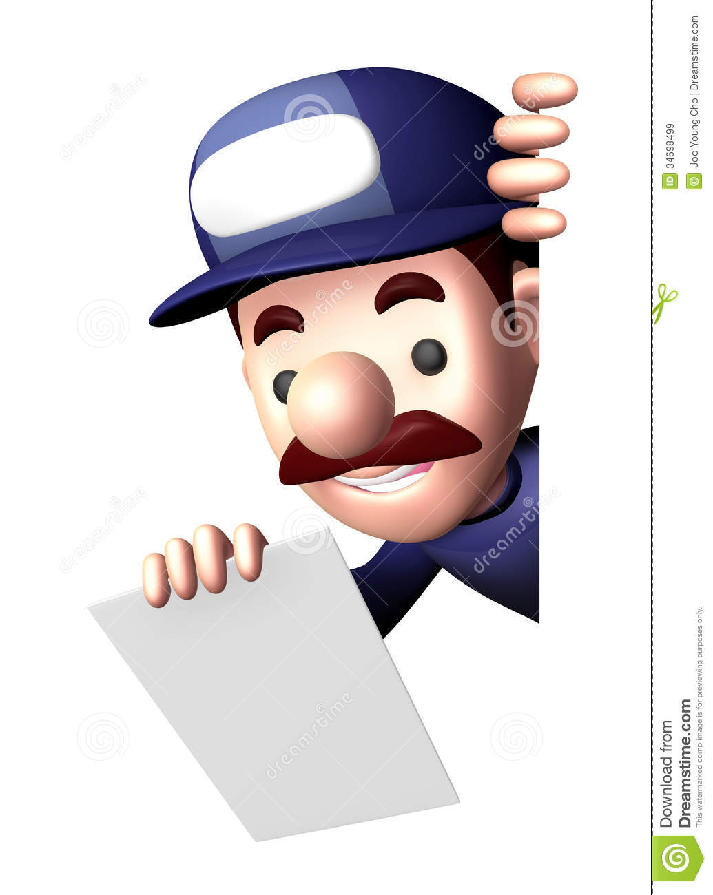 3d service man mascot holding a signpost royalty free for Character designer job