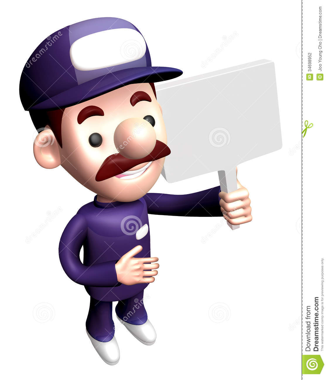 3d service man mascot holding a signpost work and job for Character designer job