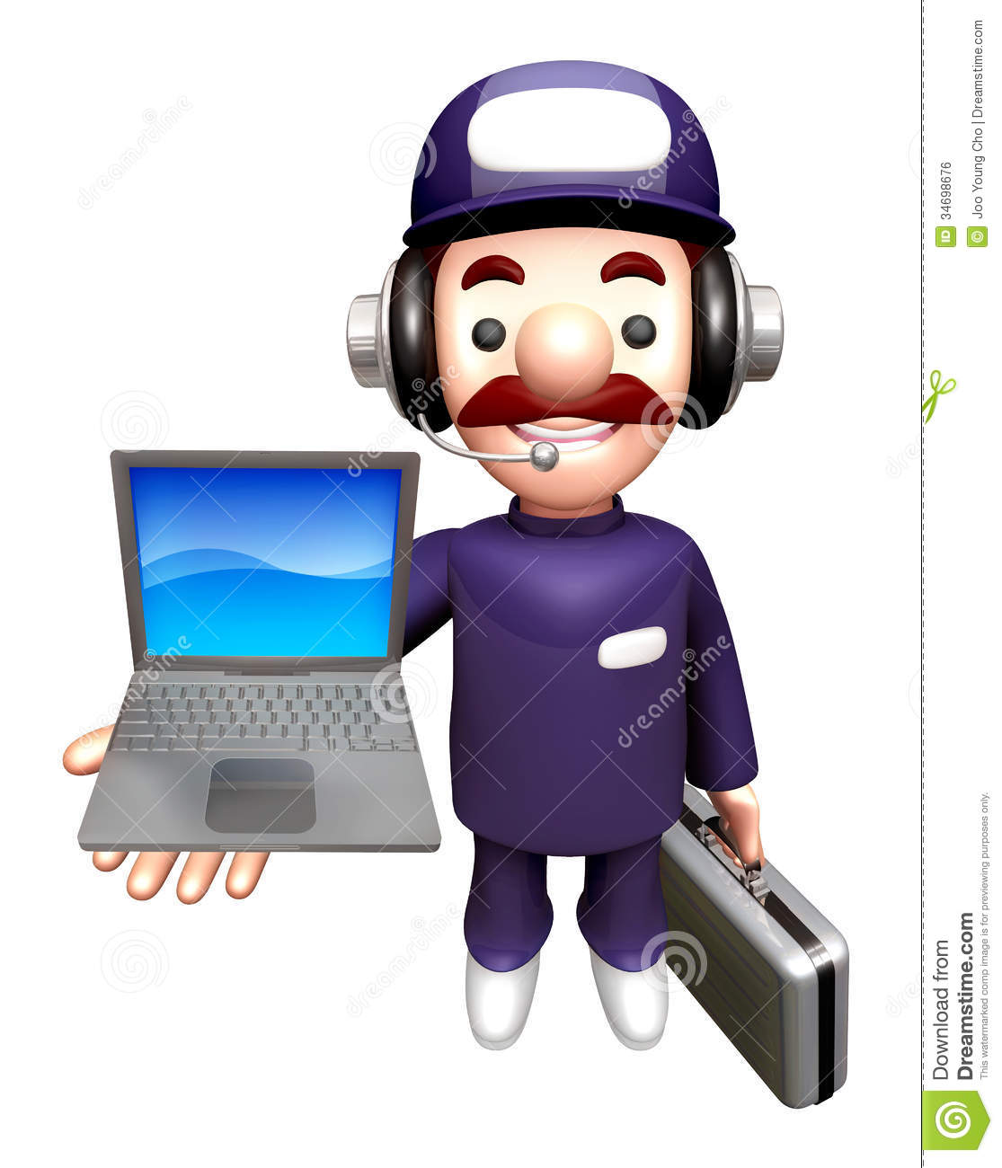 3d service men mascot to promote laptop work and job for Character designer job