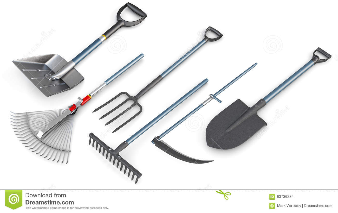 3d set of garden tools.