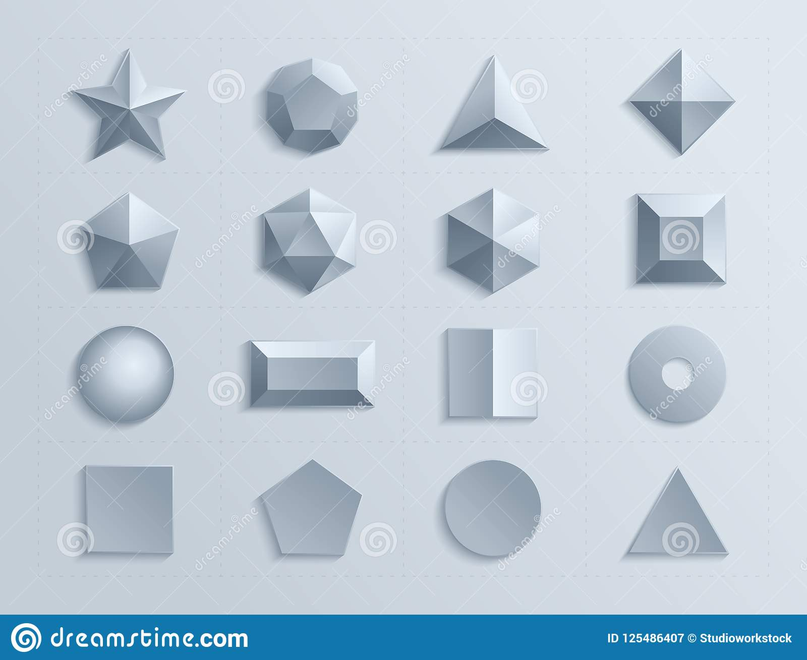 3d shapes template realistic stock vector illustration of cuboid