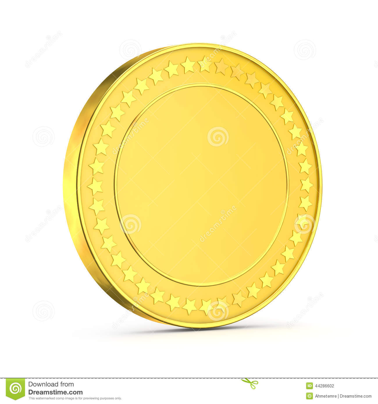 3d Shiny Gold Coin Stock Illustration Image 44286602