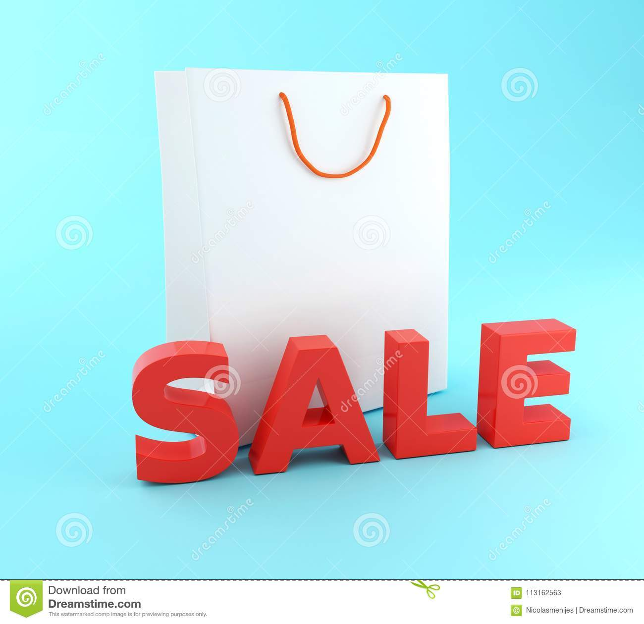2eacedbb569 3d renderer illustration. Empty Shopping Bag with sale word. Sale concept.  More similar stock illustrations