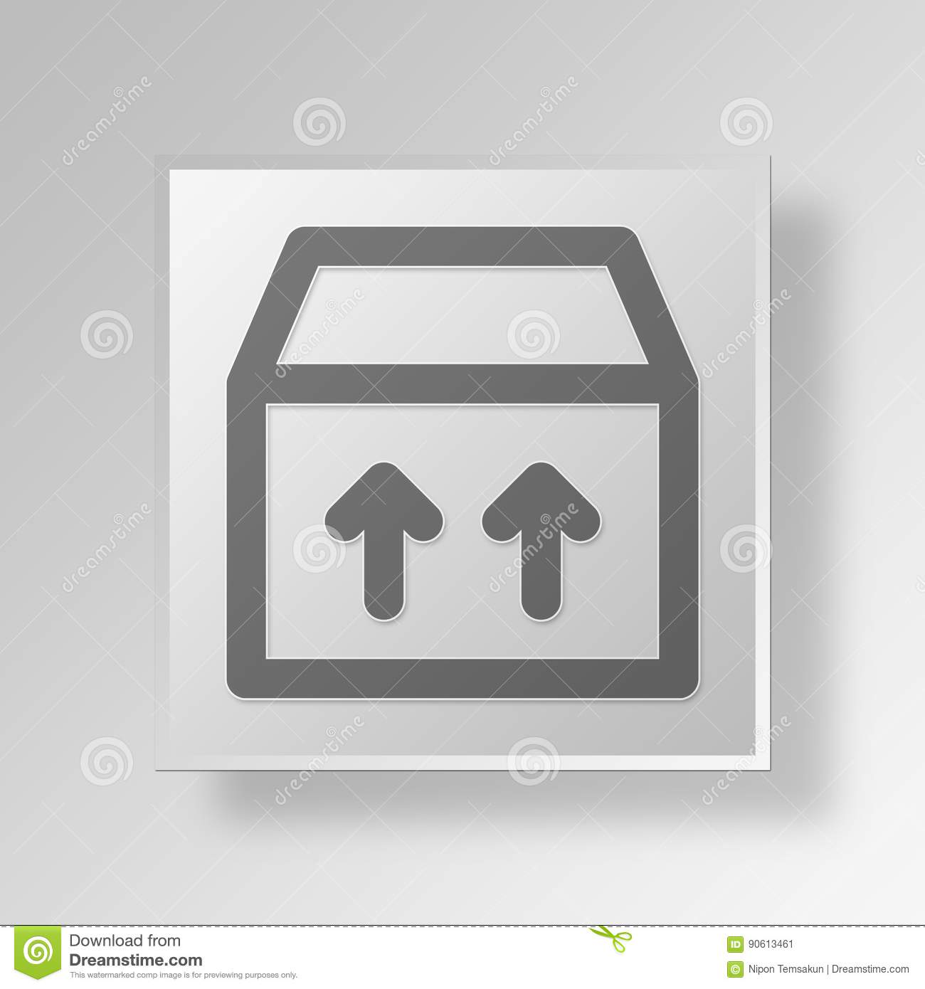 3d This Side Up Icon Business Concept Stock Image Image Of