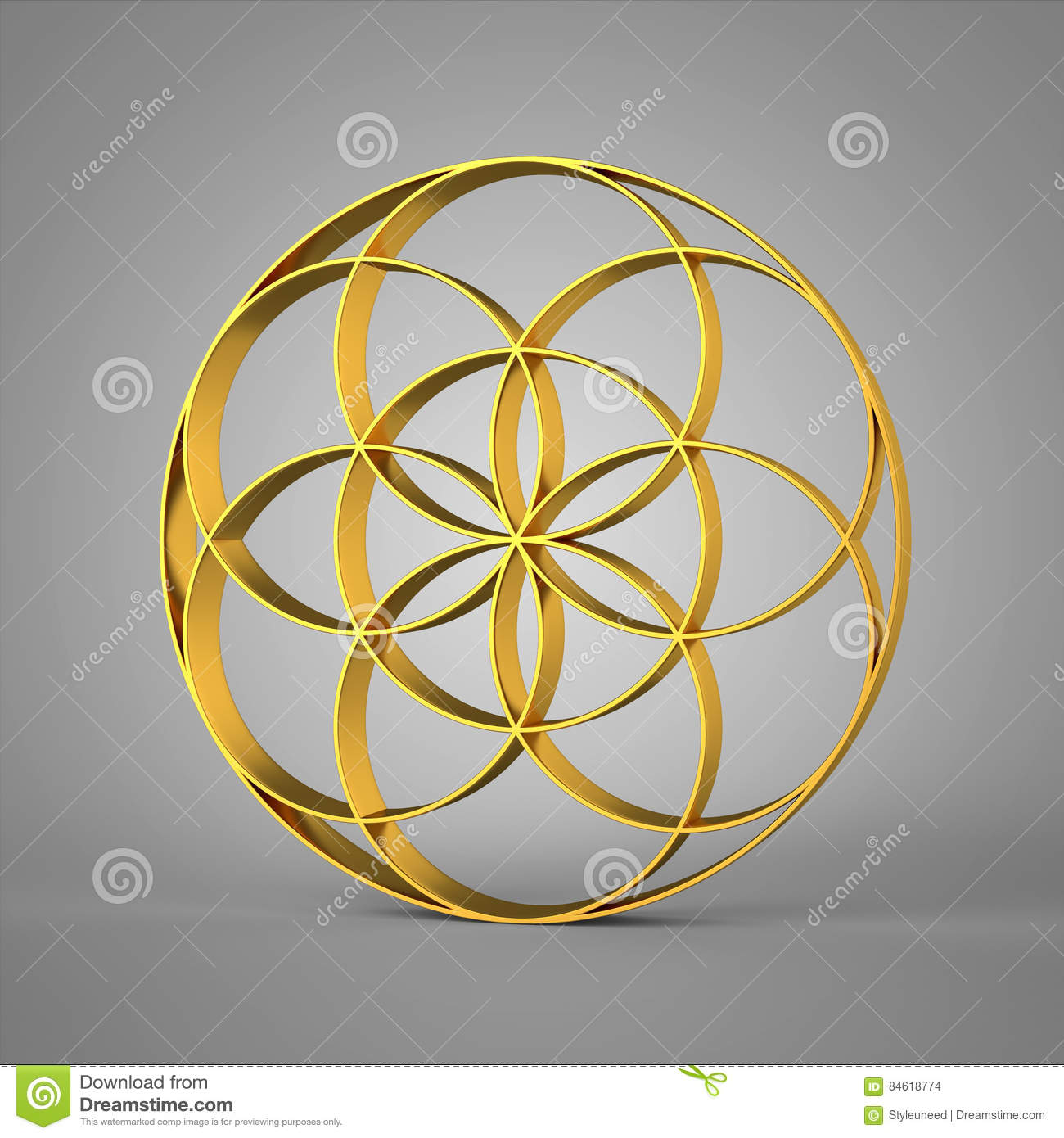 3D Sign Seed Of Life Gold 2 Stock Illustration - Illustration of