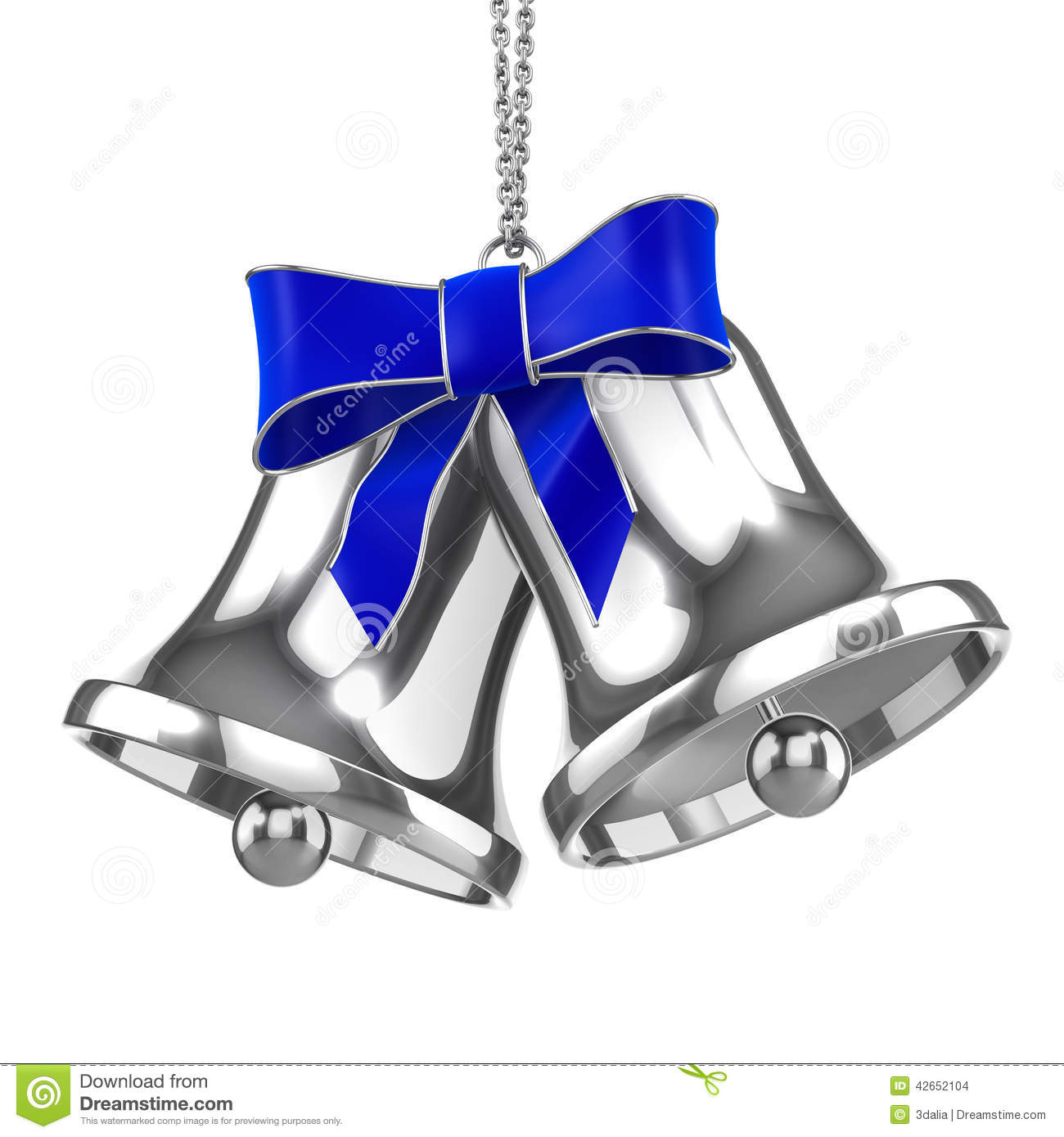 D silver christmas bells with blue ribbon stock