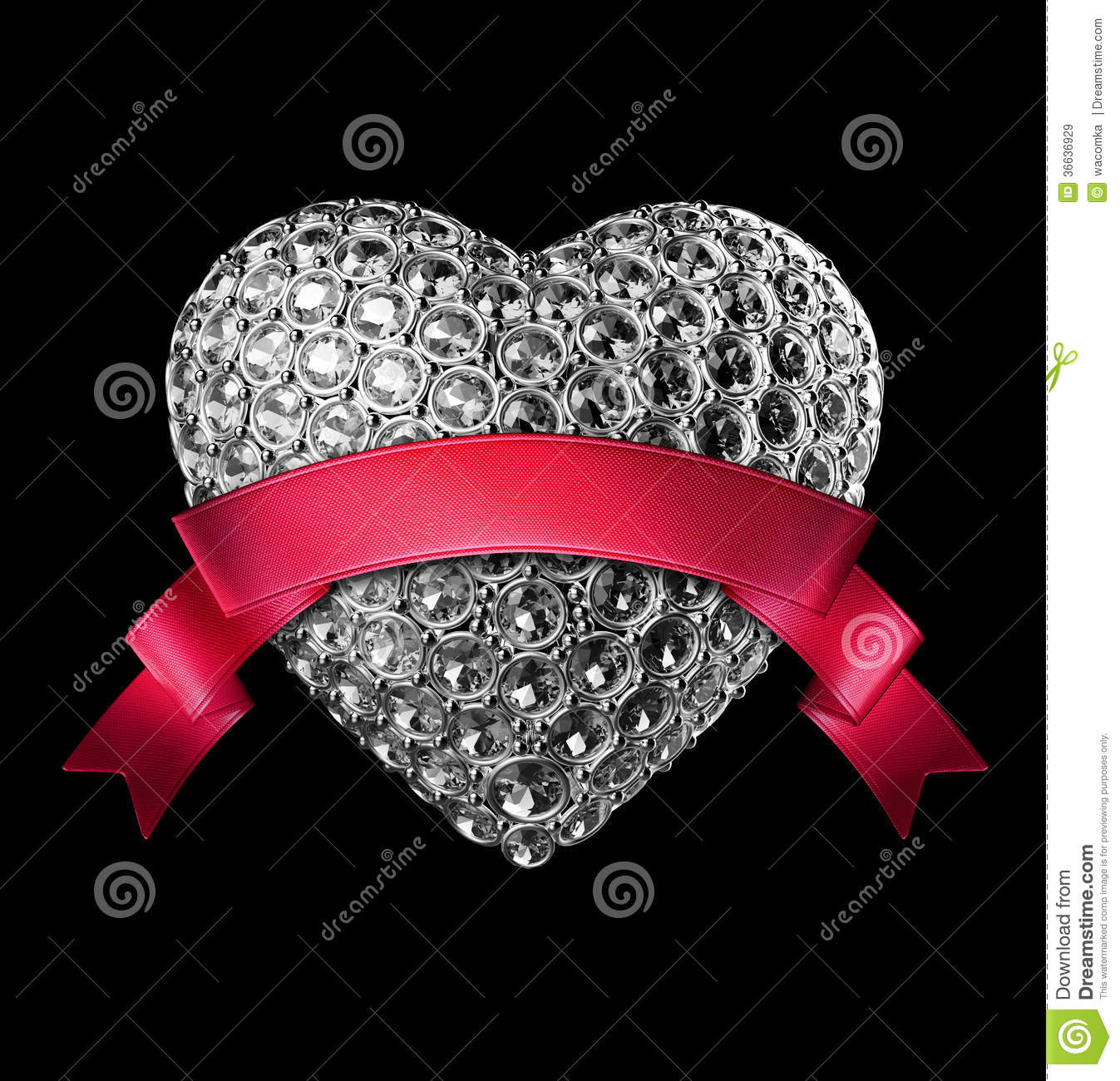 3d Silver Diamond Heart Symbol With Crystals Royalty Free Stock Images - Image: 36636929