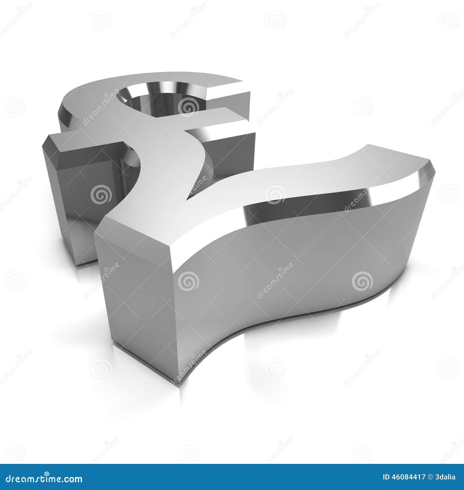 3d Silver Uk Pounds Sterling Symbol Stock Illustration