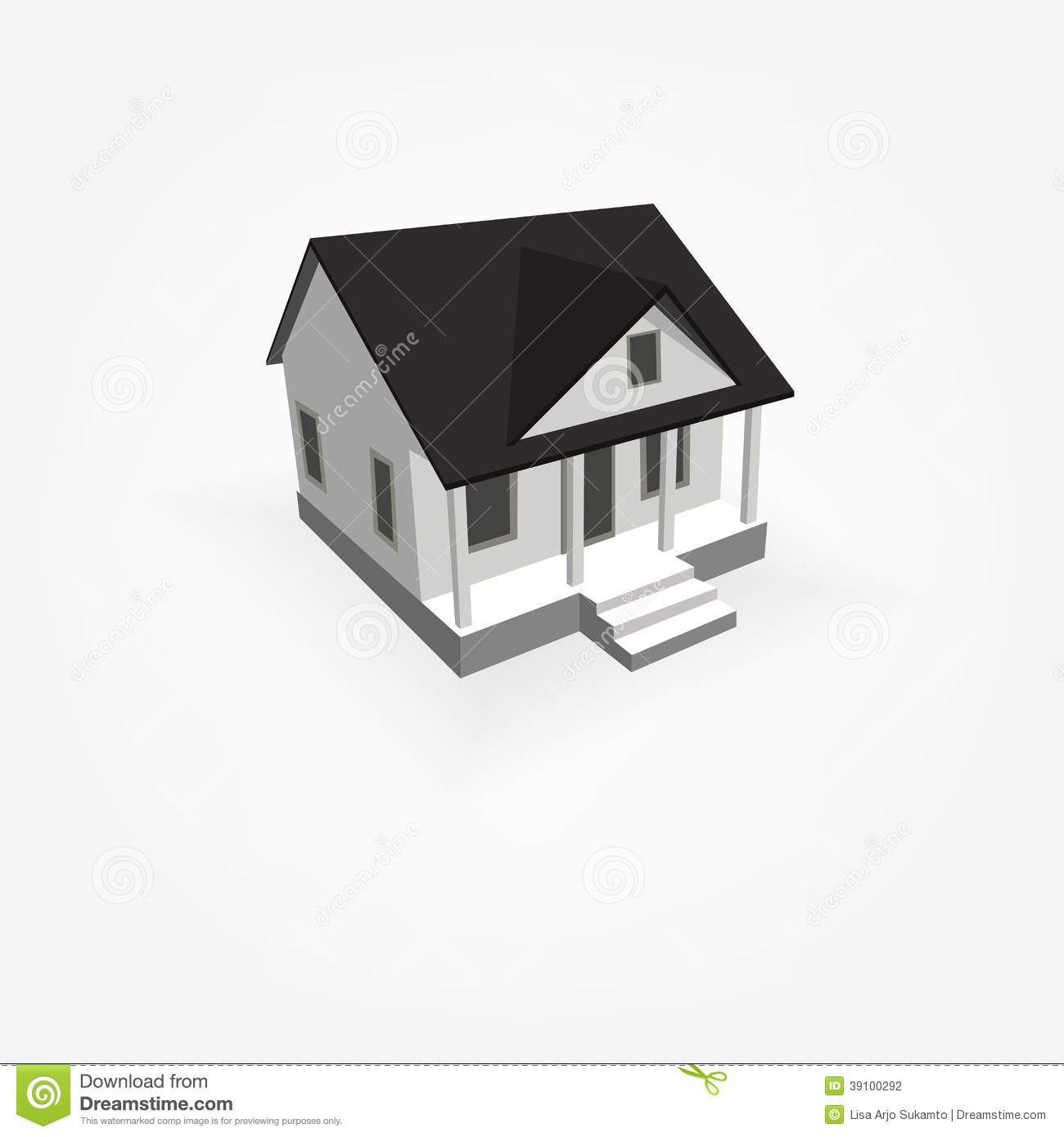 3D Simple House Stock Vector - Image: 39100292