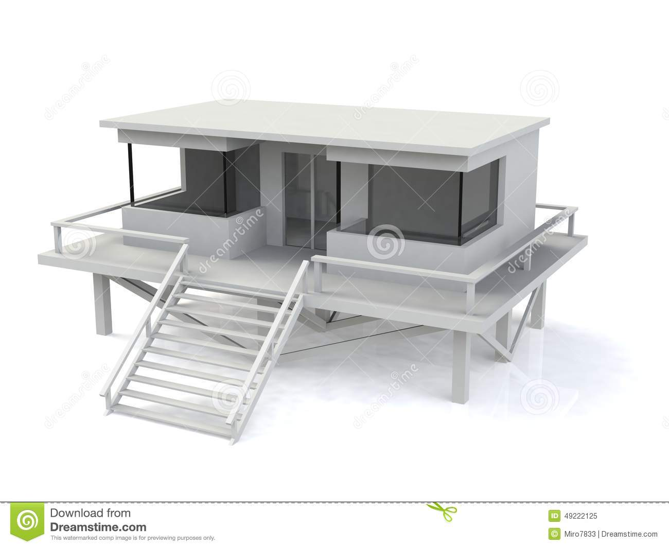 3d simple house model royalty free stock photo