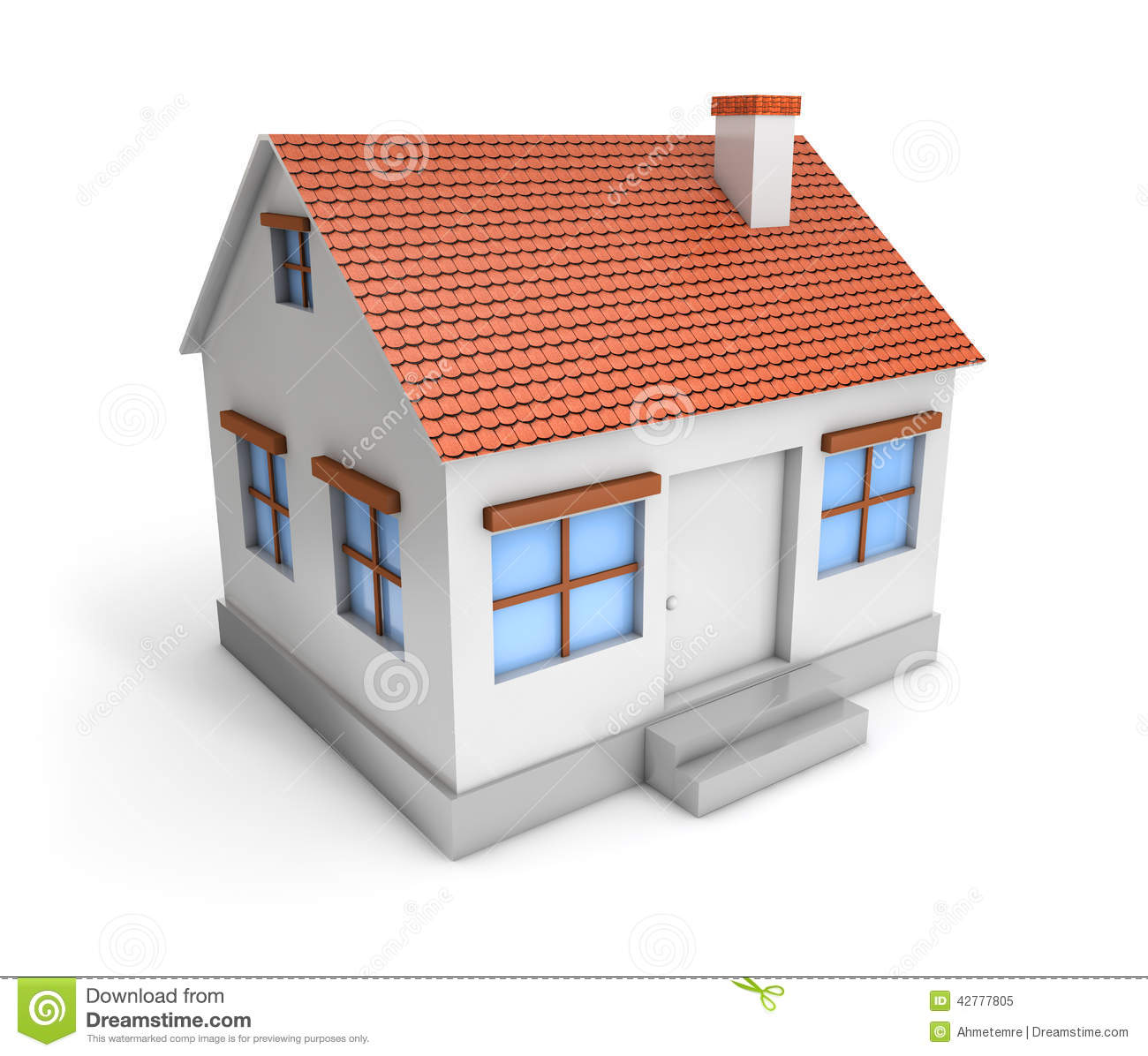 3d Simple House Stock Illustration. Illustration Of Icon