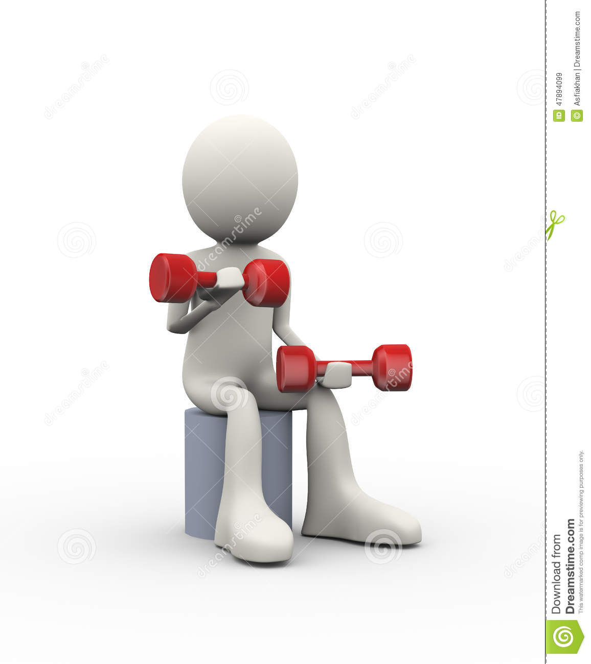 3d illustration of man sitting on object doing dumbbell weight fitness ...
