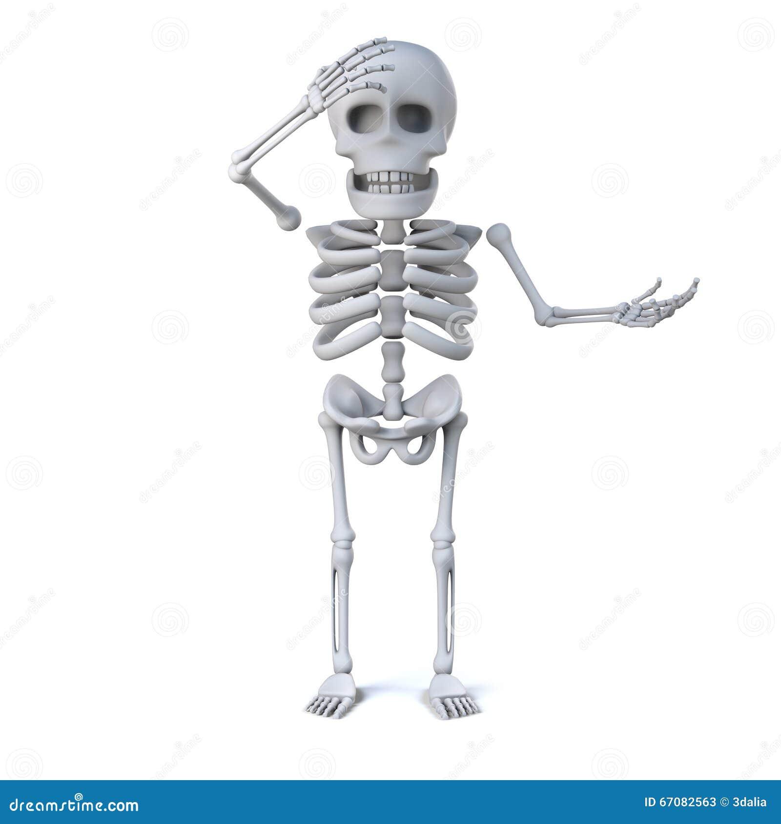 3d Skeleton Is Shocked Stock Illustration Illustration Of Bones