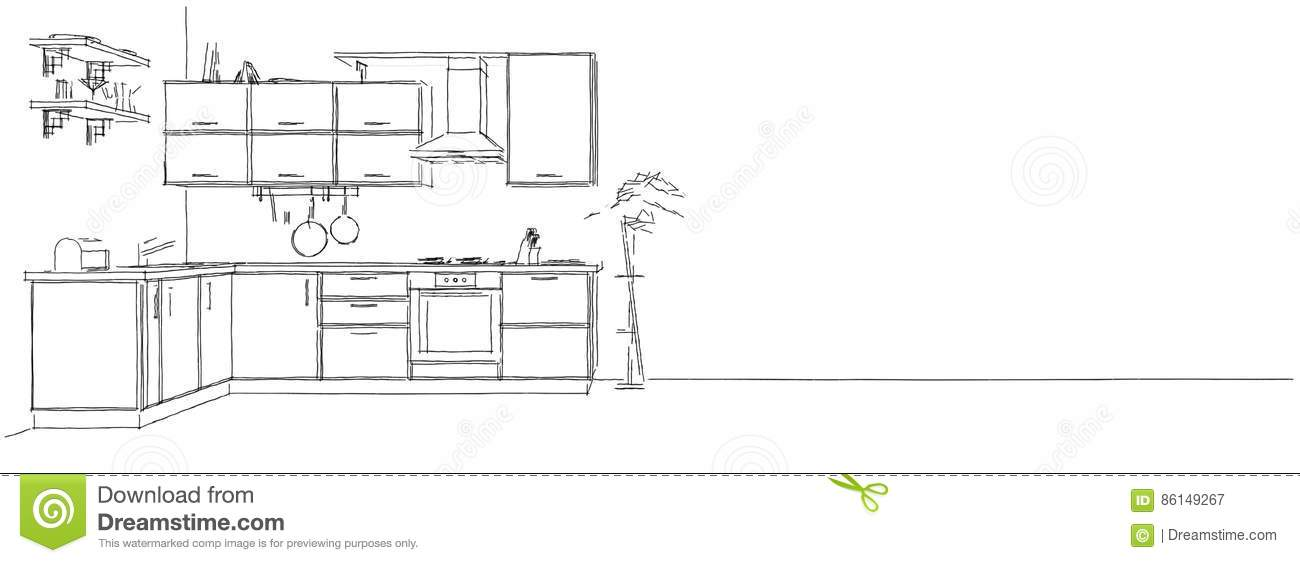 Modern Kitchen Background 3d sketch drawing of modern kitchen interior on long background